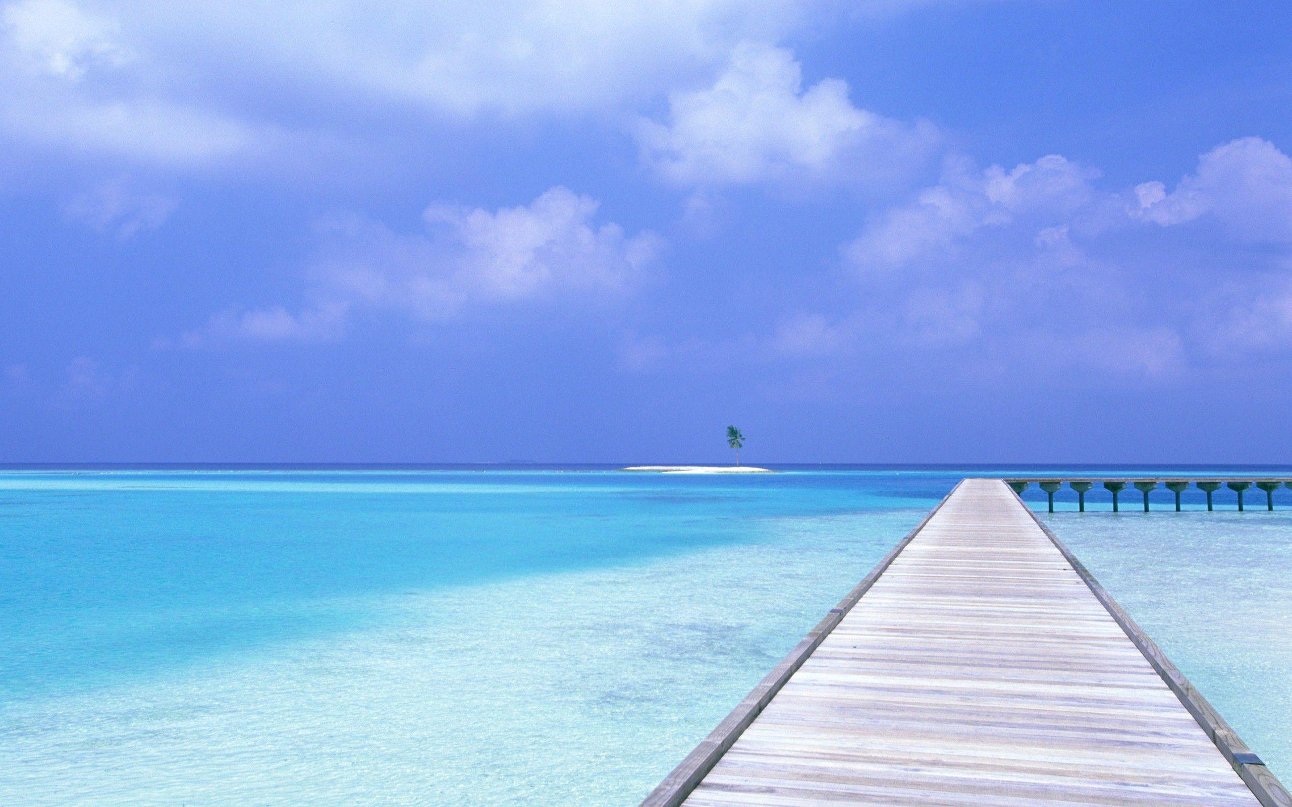 Blue Sea and Blue Sky Beach Wallpapers