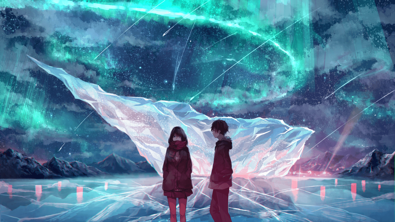 Download 1366x768 Anime Couple, Ice Field, Scarf, Anime Girl, Boy