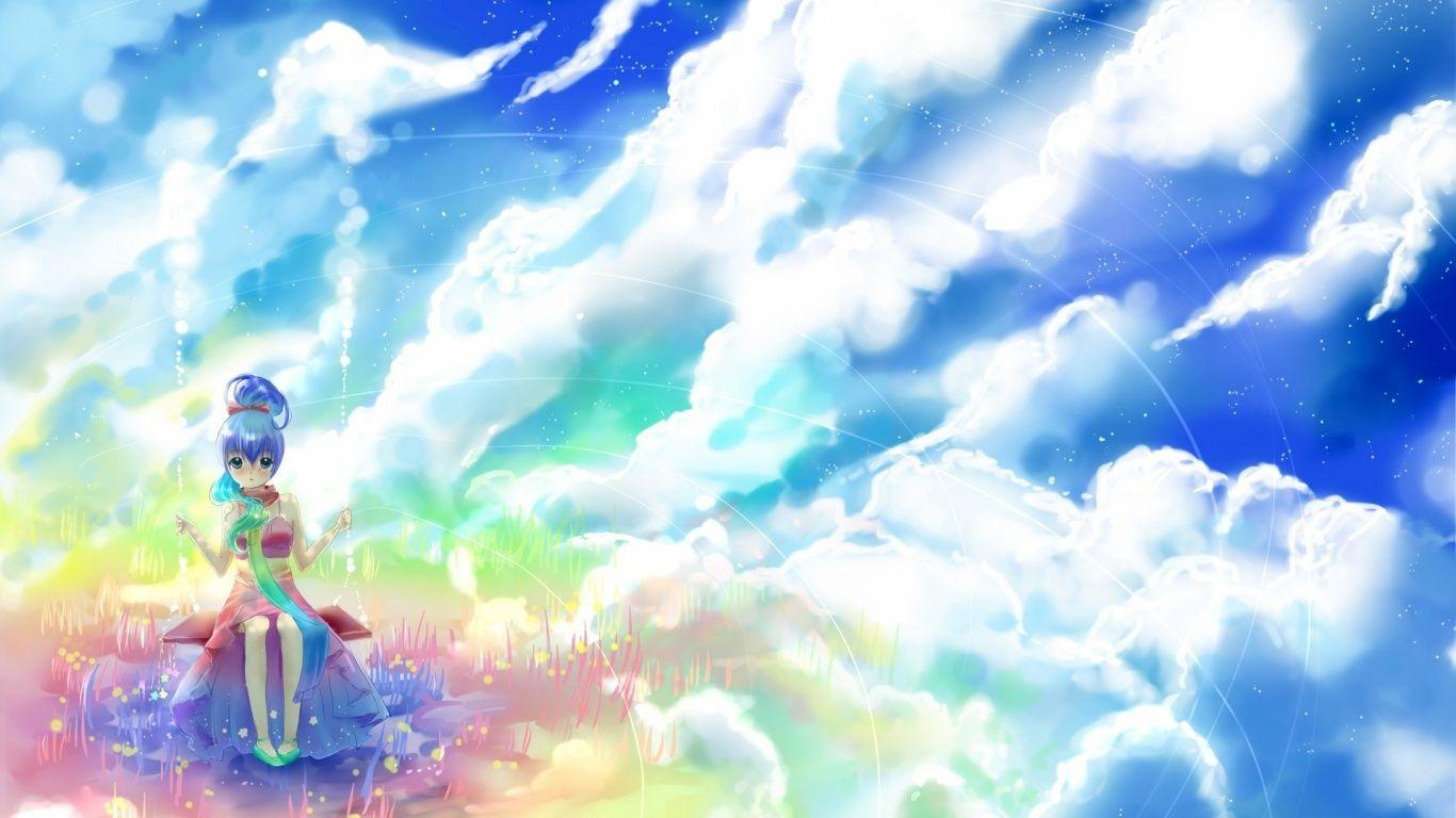 1366x768 Anime Girl Rock Clouds & Sky desktop PC and Mac wallpapers