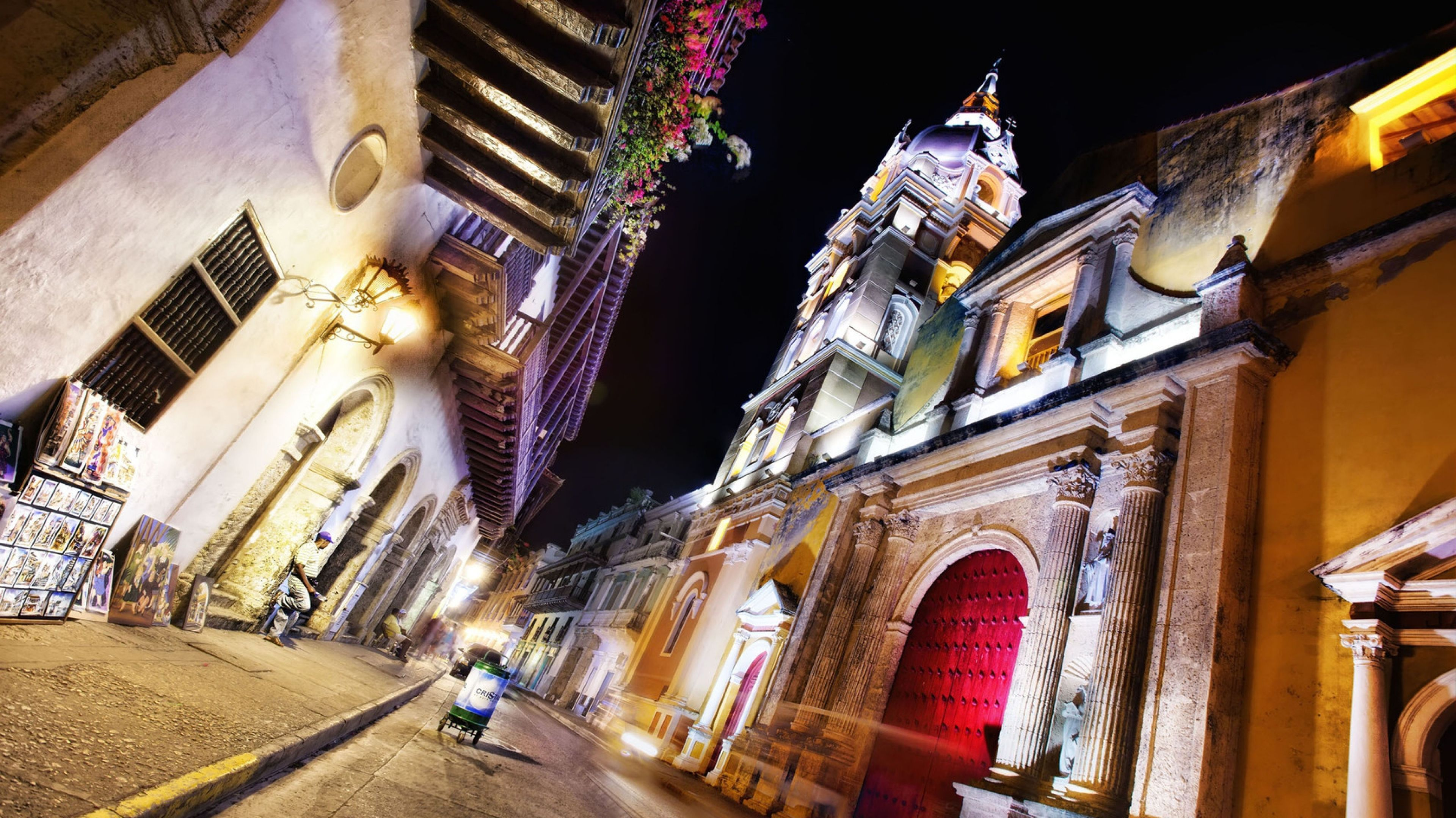 3840x2160 Wallpaper cartagena, colombia, night, street, architecture ...