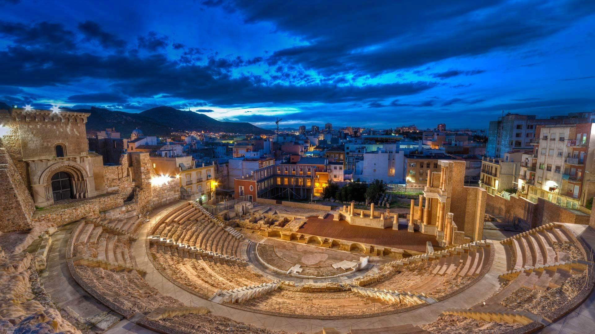 Wallpaper clouds, roman theater, night, lights, ruins, Cartagena ...