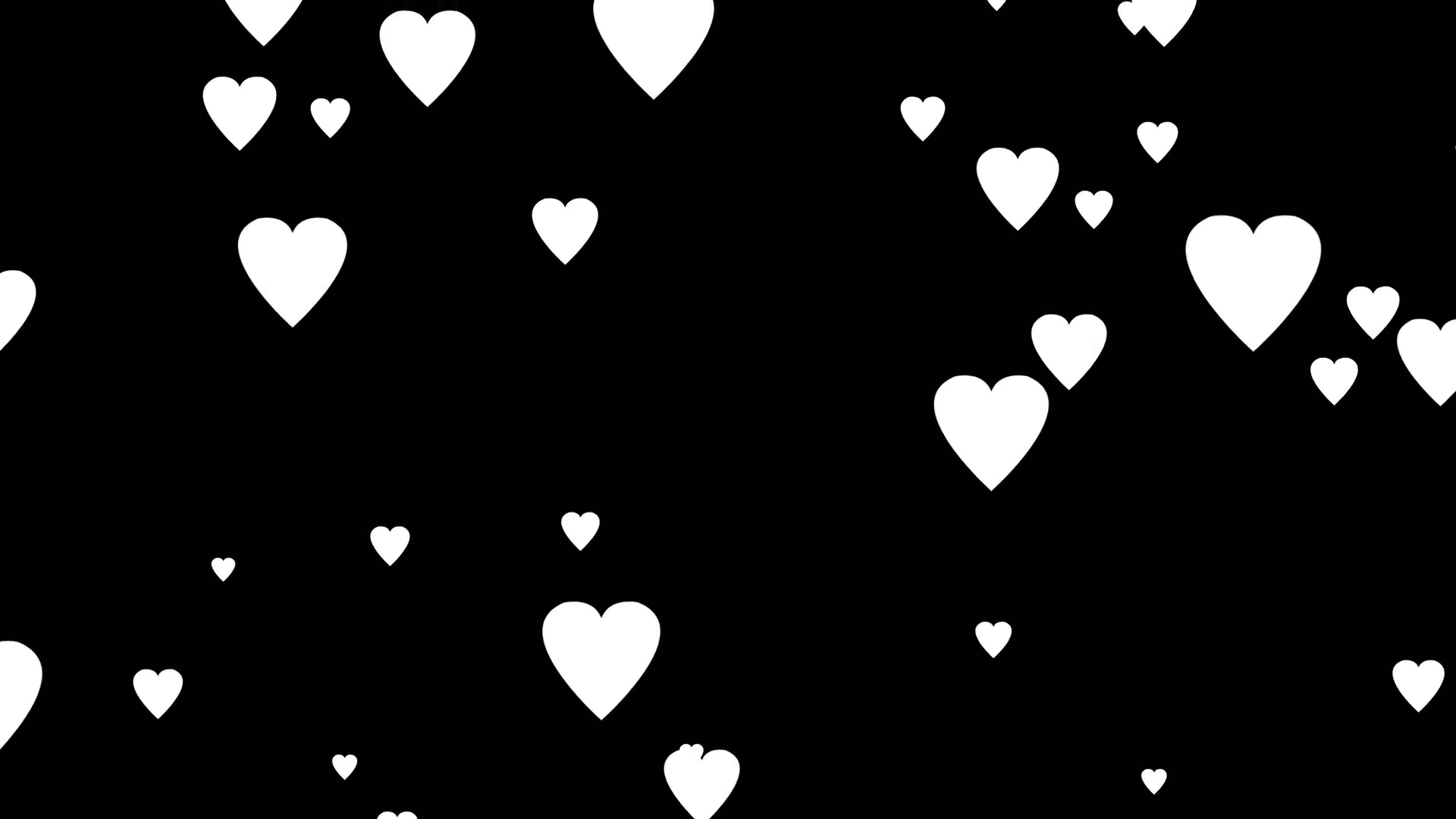 Falling white cartoon hearts over black backgrounds very easy to use
