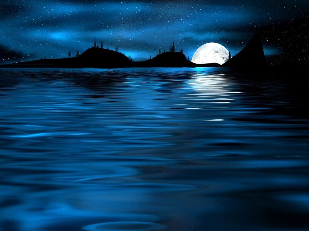Oceans Blue Moon Night Bay Stars Mountains Water Ocean Wallpapers For