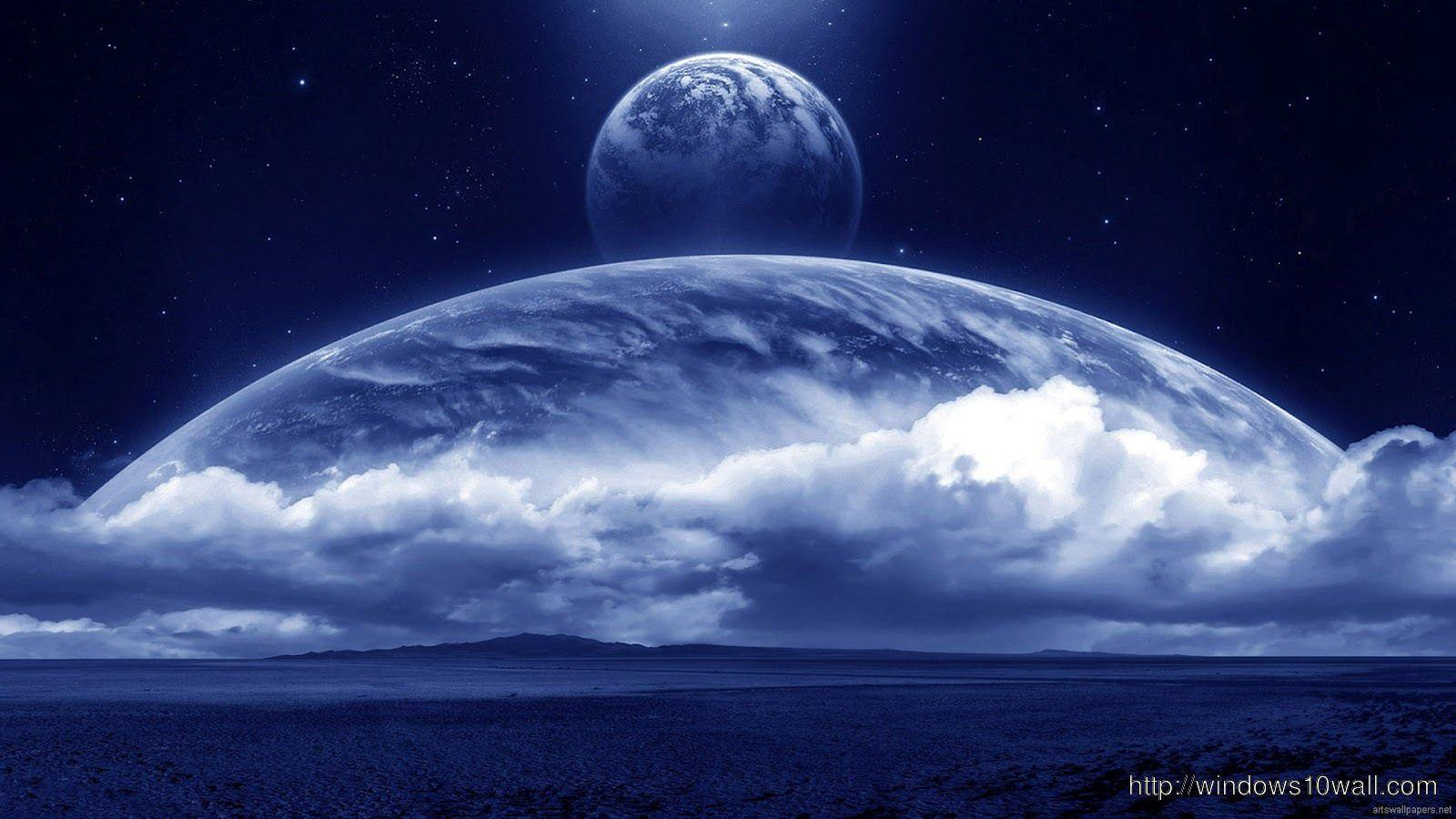 Blue Moon On Clouds Hd Wallpapers