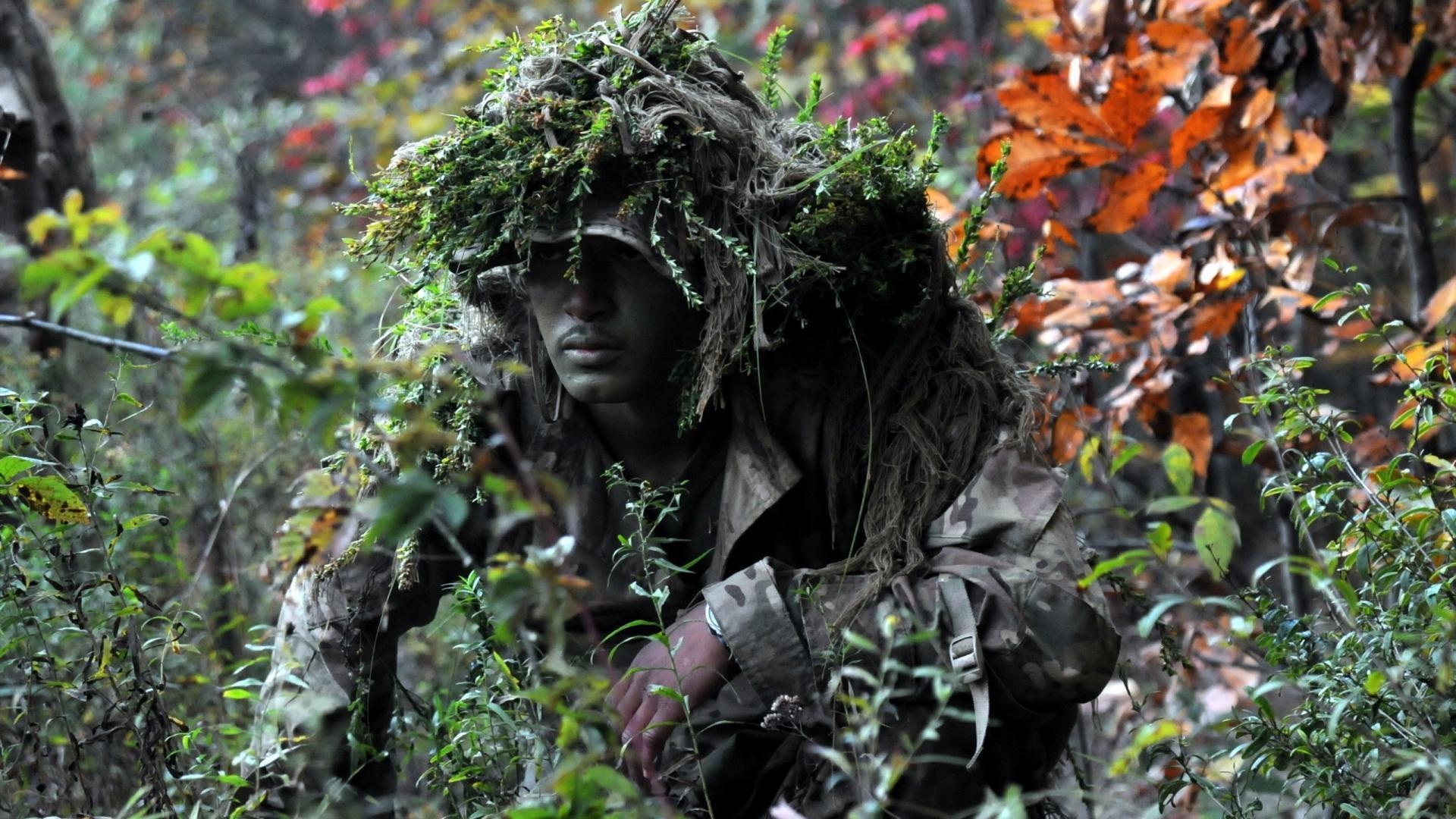 Awesome Soldiers Men Camouflage Ghillie Suit Wallpaper   (24705)