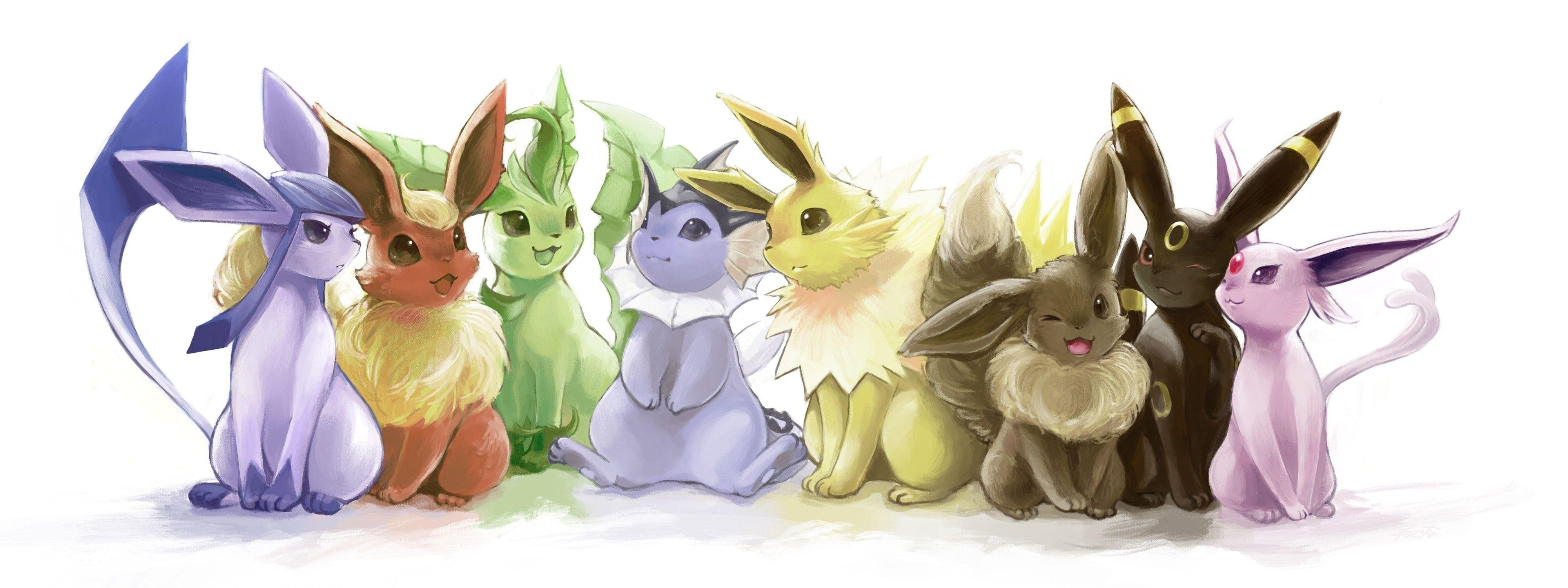 Download Wallpapers, Download 4096x1536 pokemon flareon eevee espeon