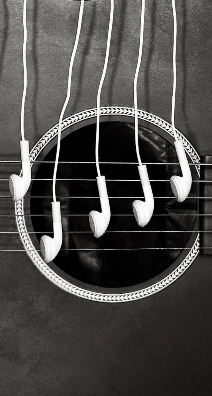 Headphones and a guitar. HD iOS7 HD wallpapers for iPhone and iPod