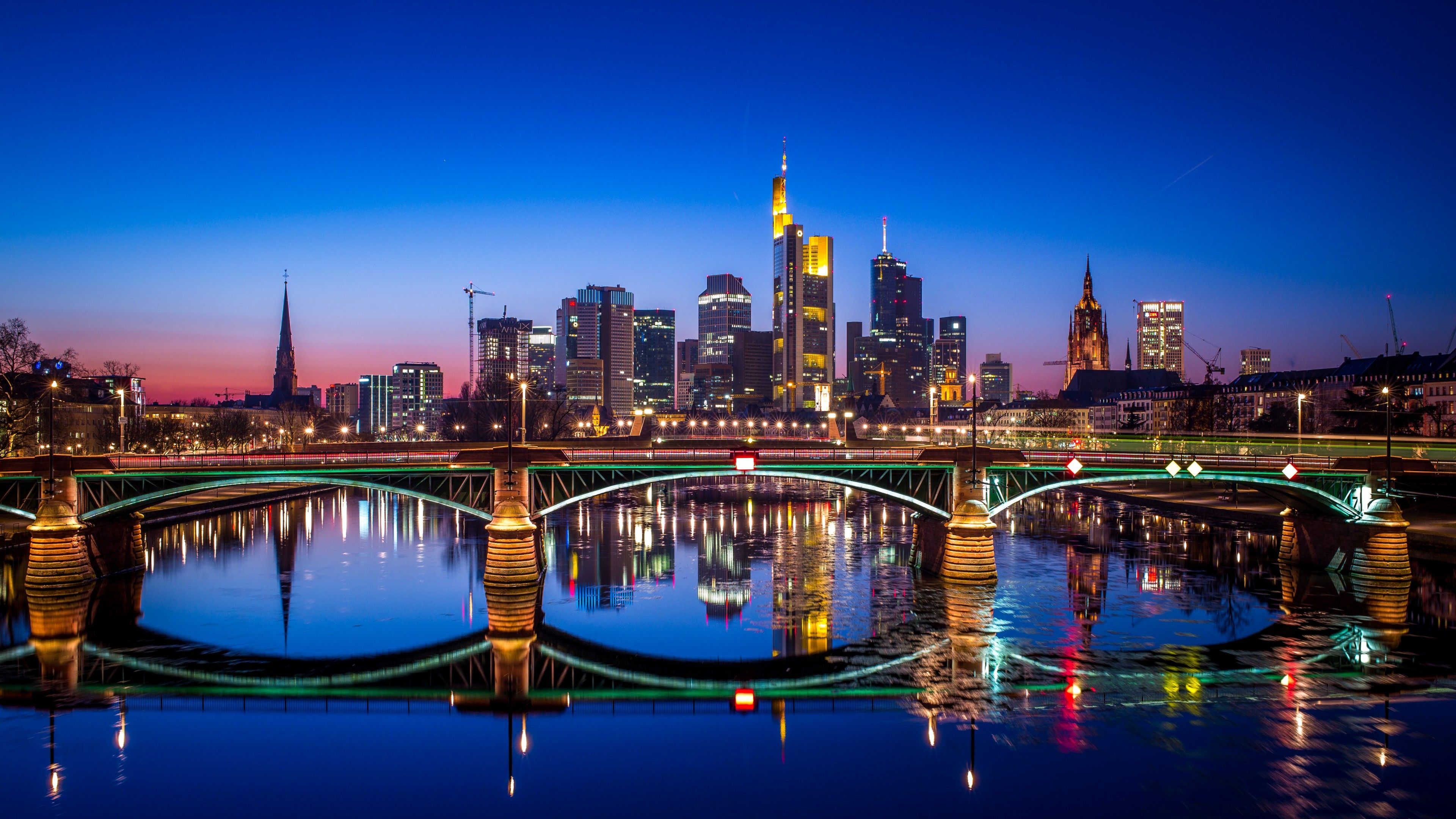Wallpapers Frankfurt, Nightscape, Germany, HD, 4K, World,