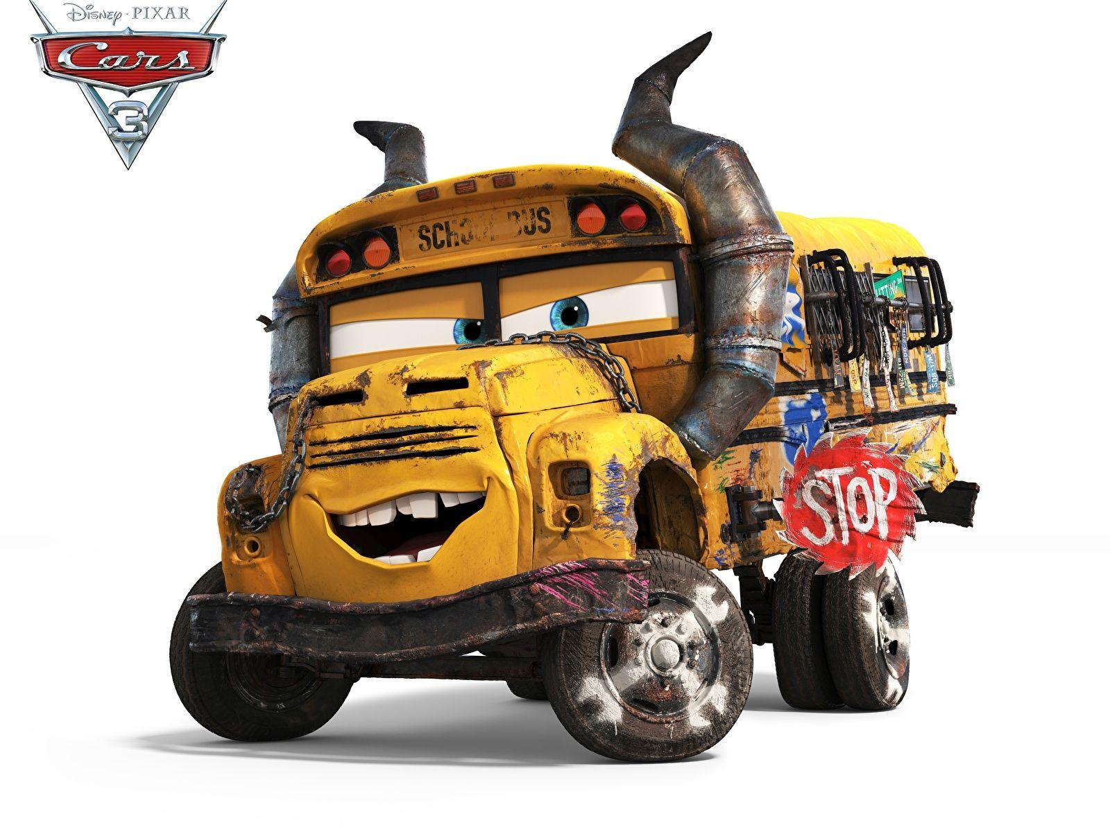 Wallpapers Cars 3 Bus school bus Cartoons White backgrounds 1600x1200