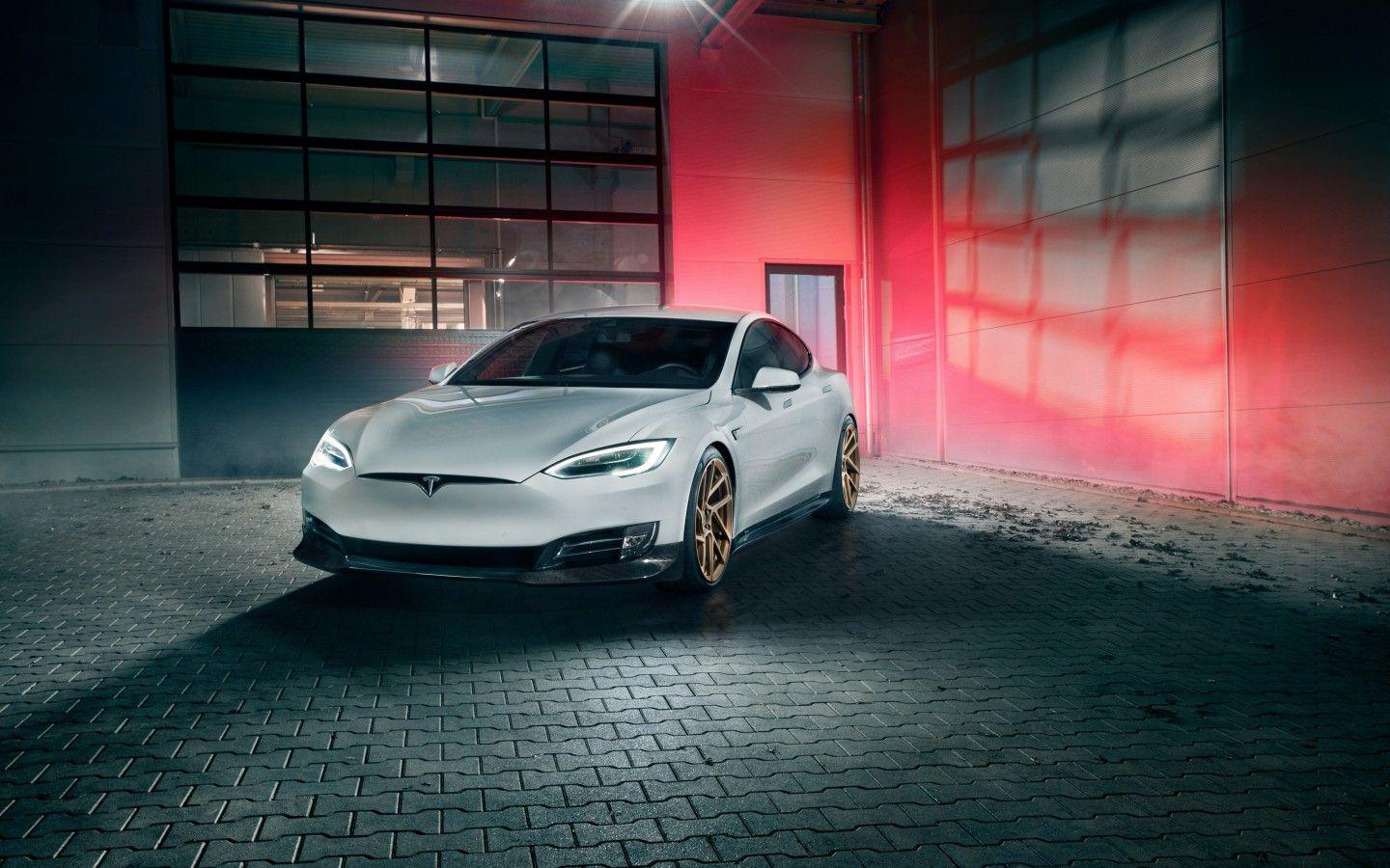 Download 1440x900 Tesla Model S By Novitec, White, Cars Wallpapers