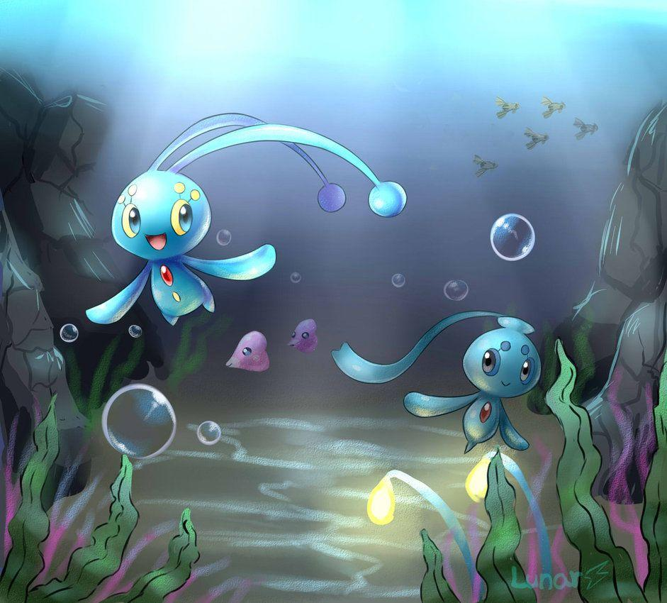 Manaphy and Phione by LunarThunderStorm