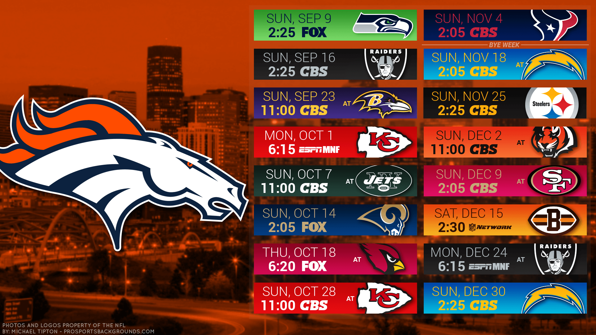 Denver Broncos 2018 NFL PC City Schedule Wallpaper