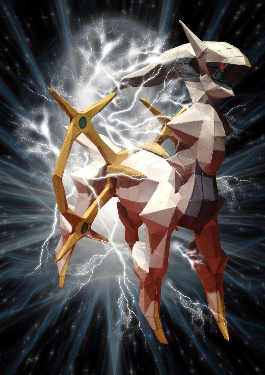 arceus paperkraft with backgrounds by magicalyuki