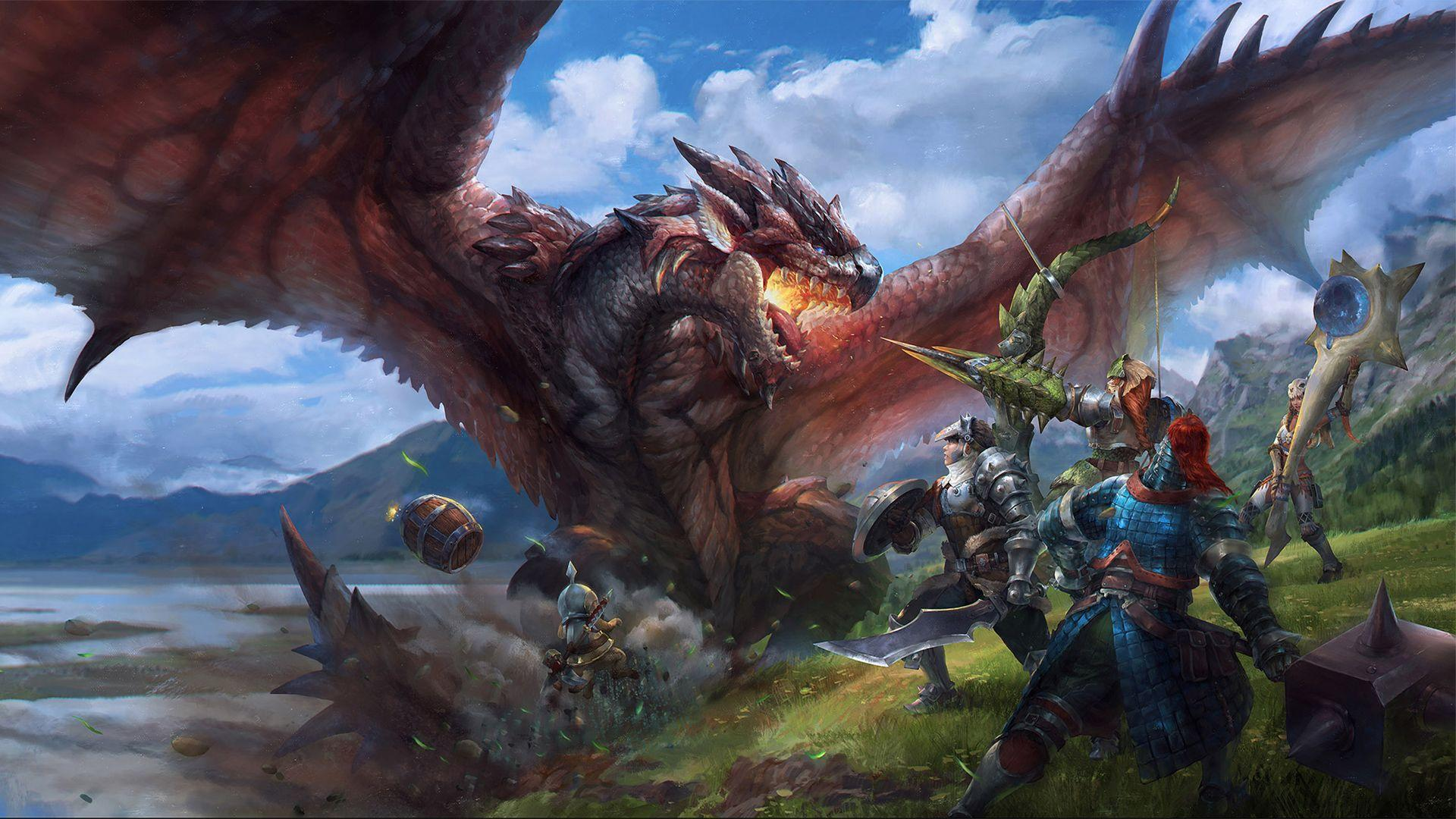 Group of hunters facing off against a dragon. Wallpapers from Monster
