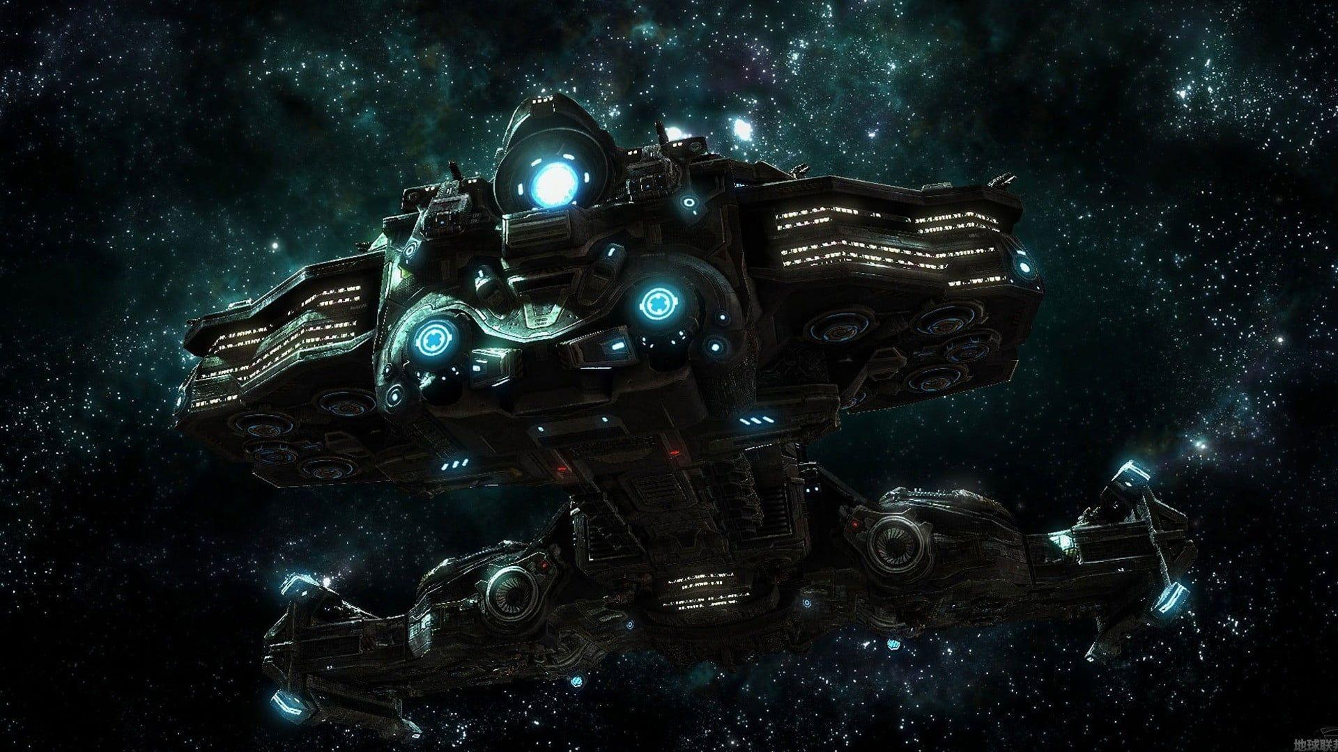 Gray and blue spacecraft, space, ship HD wallpapers
