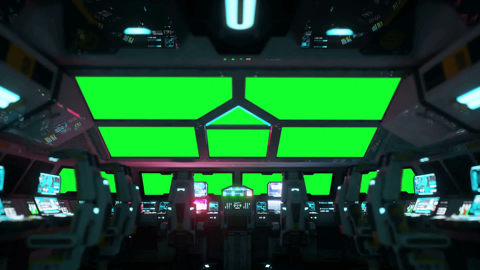 space ship futuristic interior. Cabine view. Green screen footage