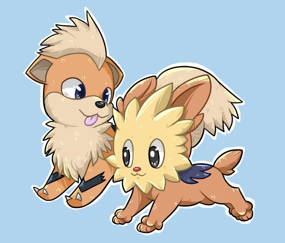 Growlithe and Lillipup by MinueCharm