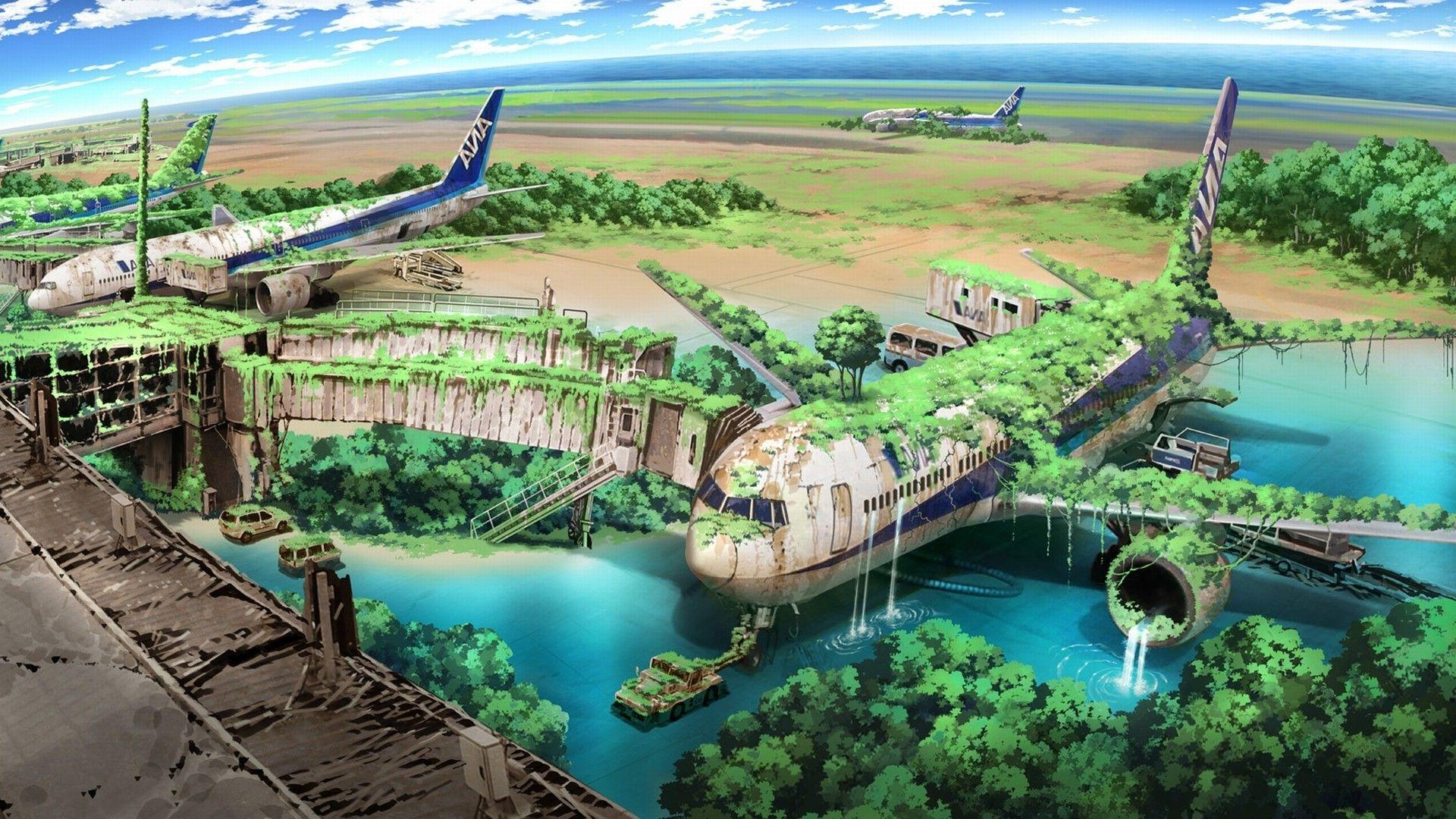 apocalyptic, Airplane, Nature, Anime, Aircraft, Drawing Wallpapers