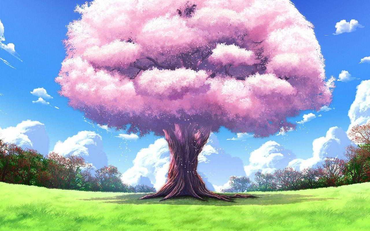 1280x800 Anime, Landscapes, Tree, Nature, Art, Upscale Wallpapers