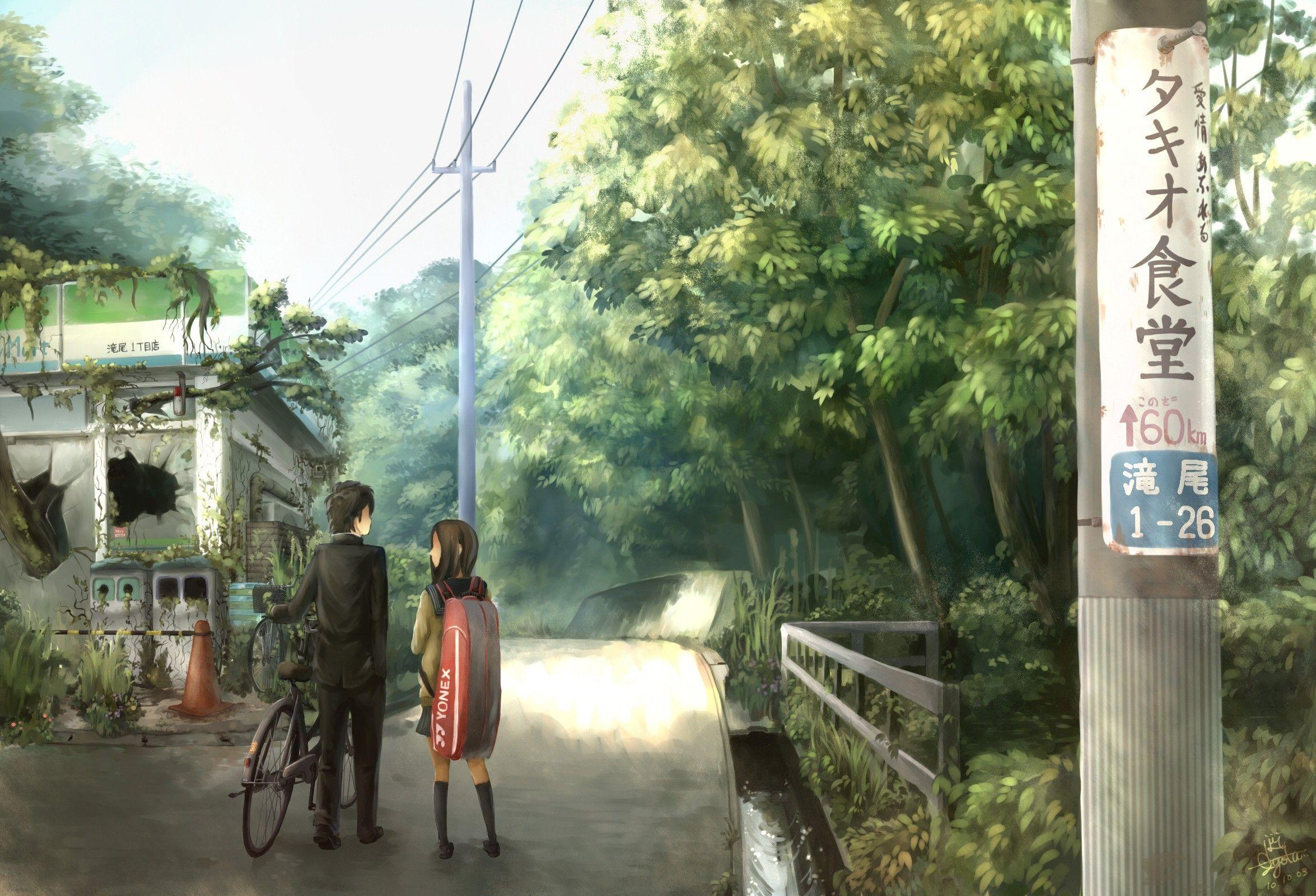 Nature bicycles anime girls wallpapers
