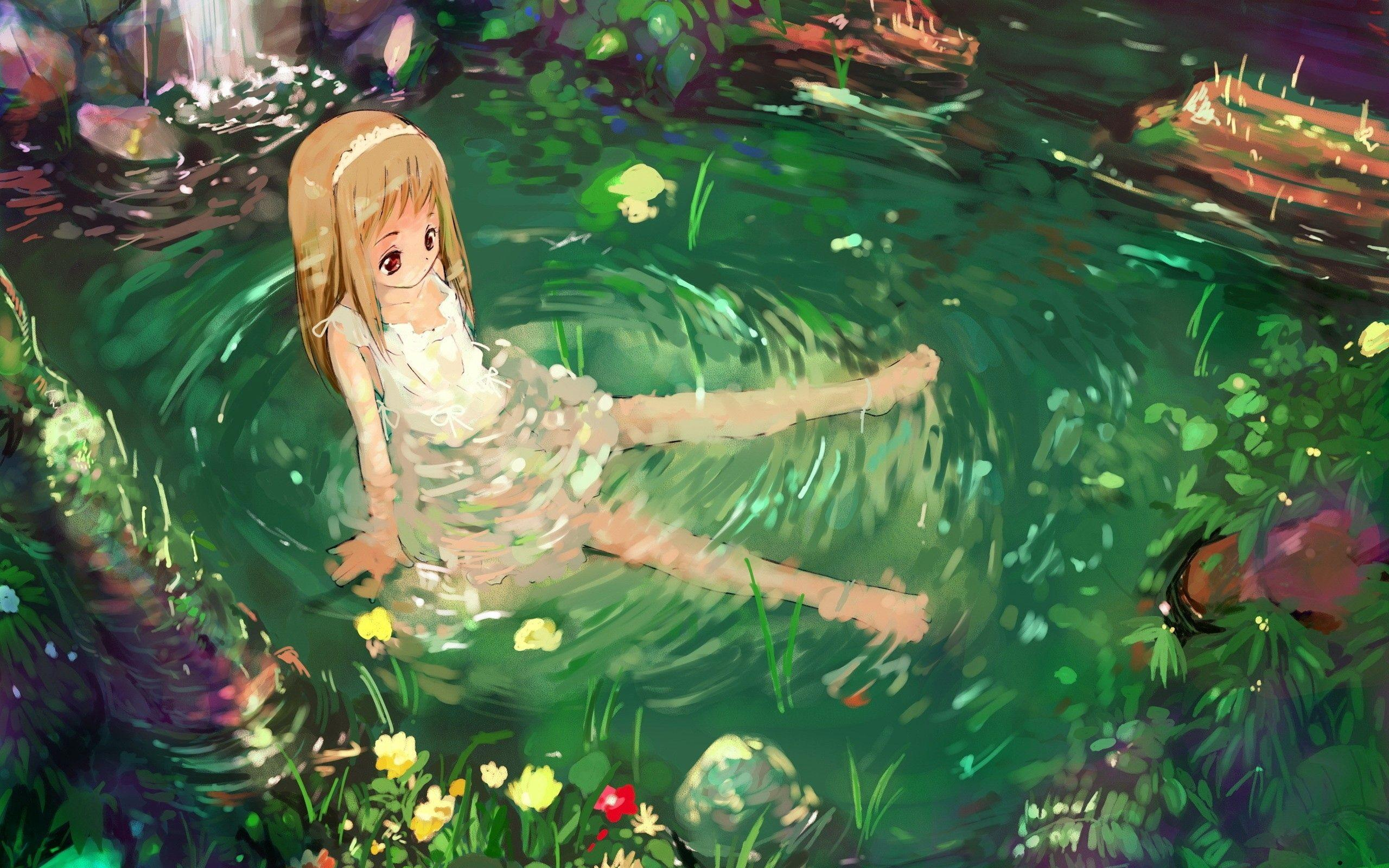 Download wallpapers 2560x1600 anime, girl, nature, water, sadness hd