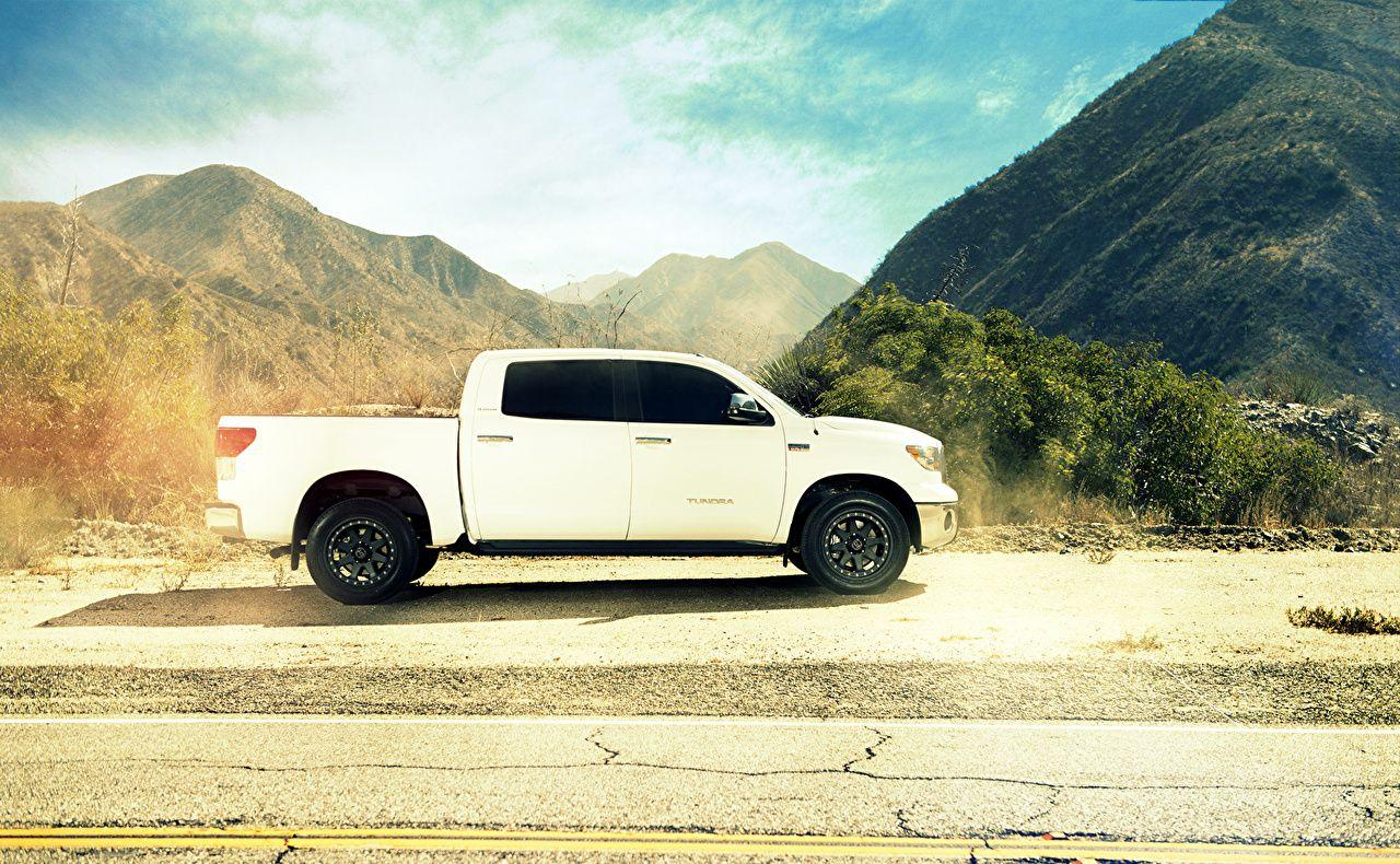 Photos Toyota tundra White Side automobile