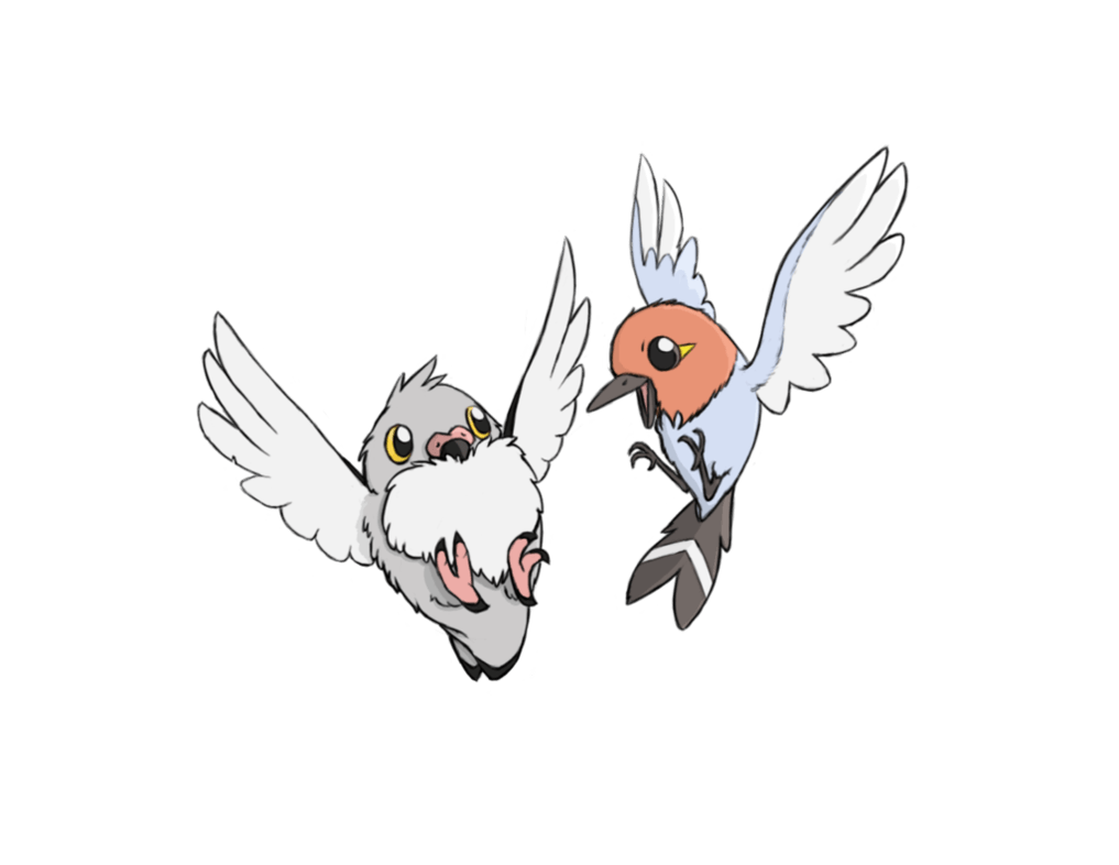 Fletchling and Pidove by Huntclaw on DeviantArt