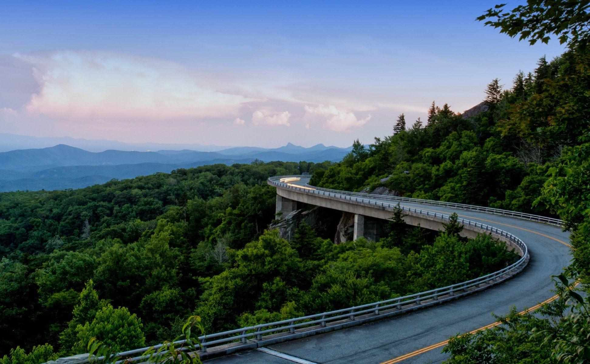 blue ridge parkway appalachian mountains mountain forest road HD