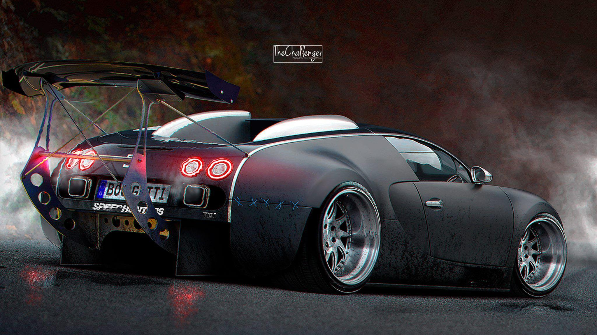 Bugatti Veyron Gets Stanced, Luckily It's a Rendering - autoevolution