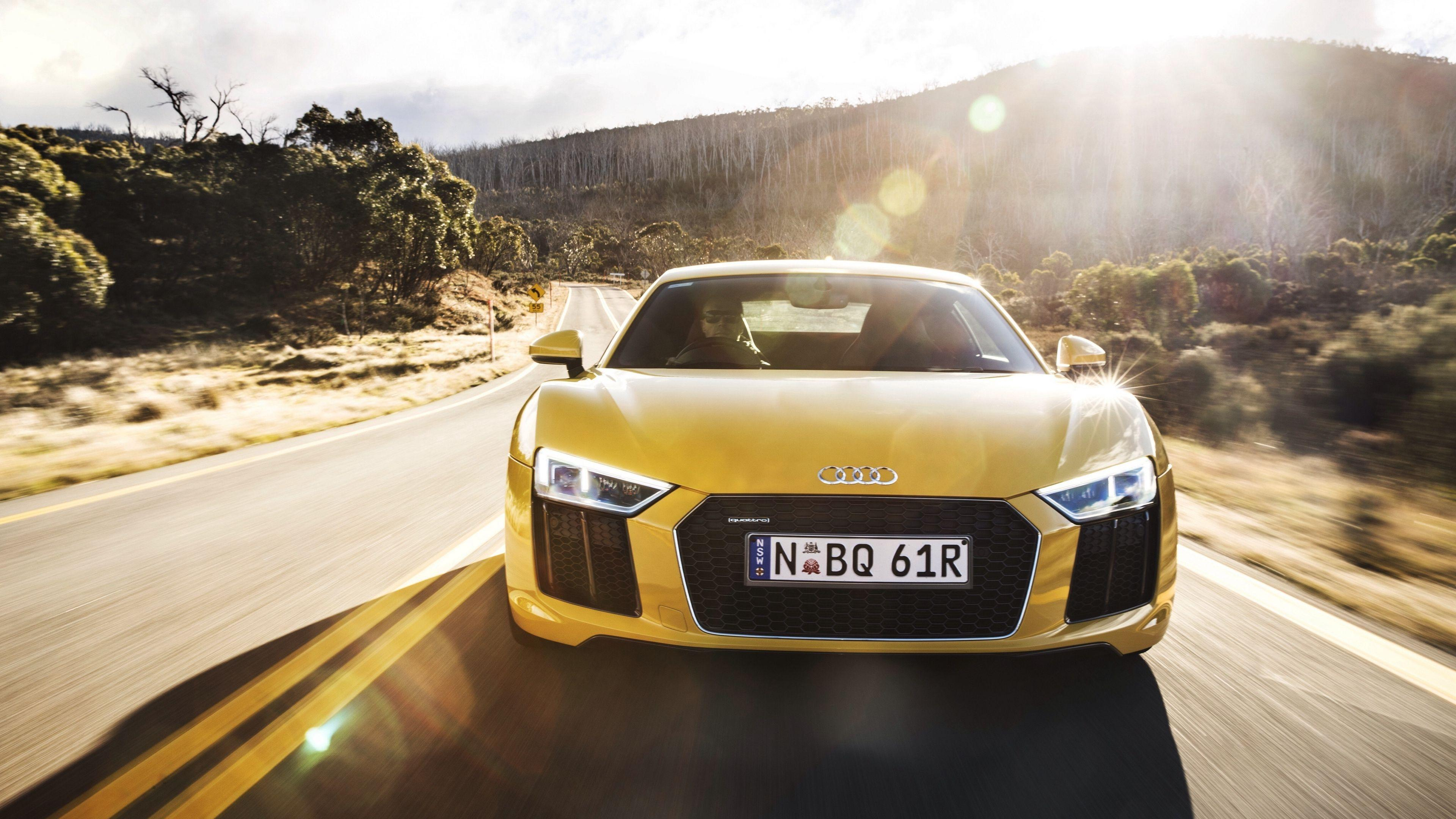 Download wallpapers 3840x2160 audi, r8, v10, yellow, front view 4k