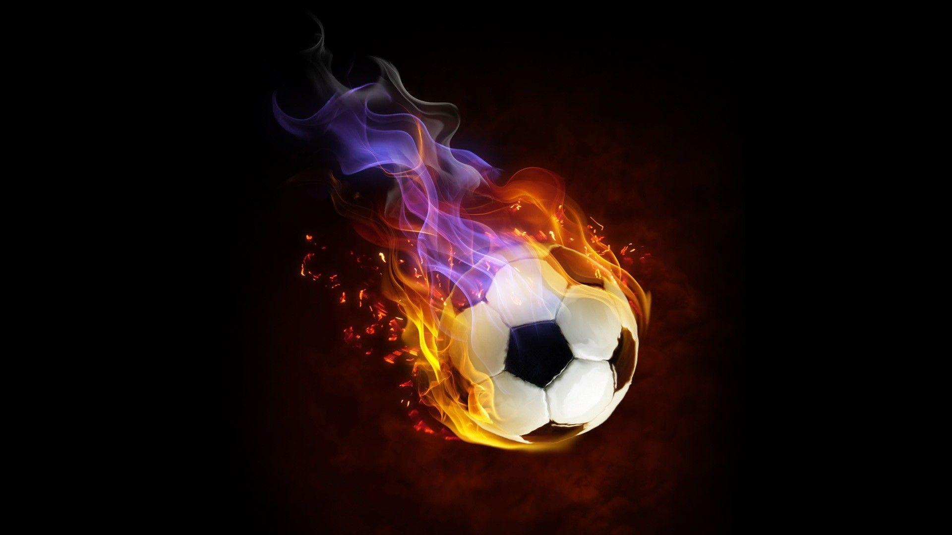 The Ball On Fire Soccer Football Sports Qhd Wallpaper 2