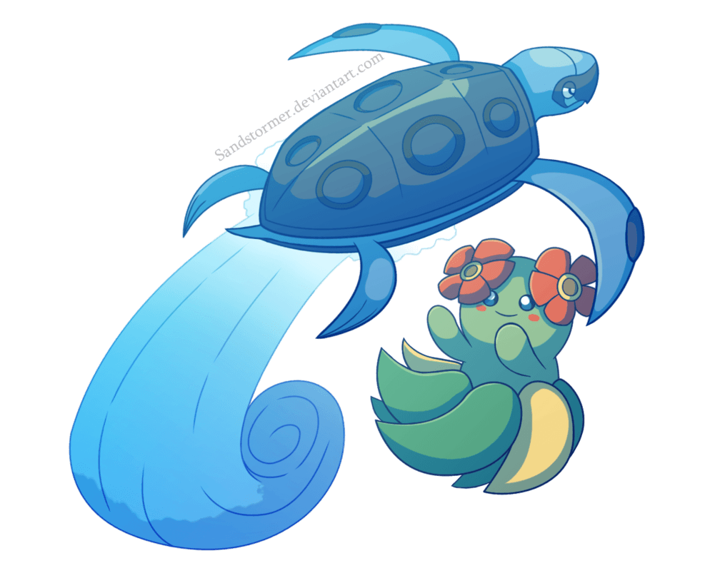 Bellossom and Tirtouga by Sandstormer