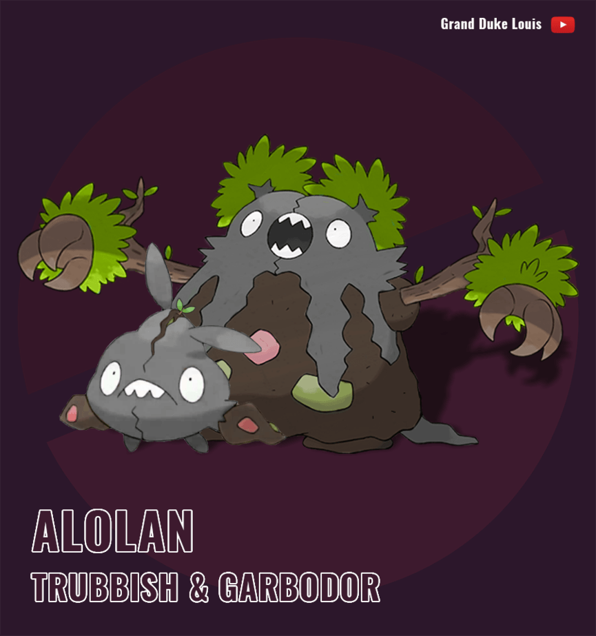 Alolan Trubbish and Garbodor by GrandDukeLouis