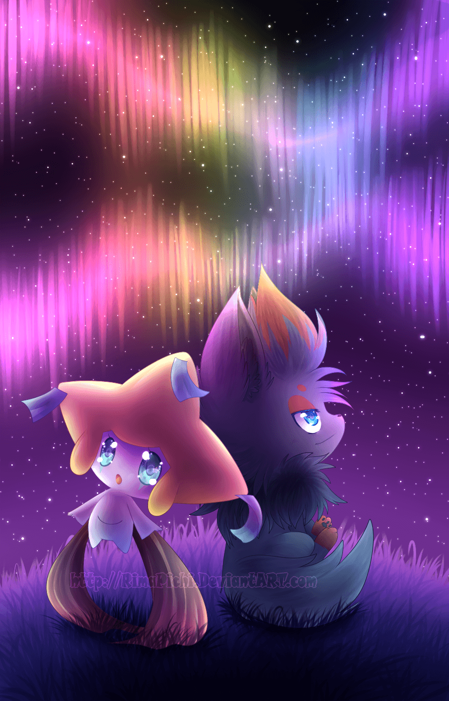 Jirachi and Zorua by *RimaPichi on deviantART