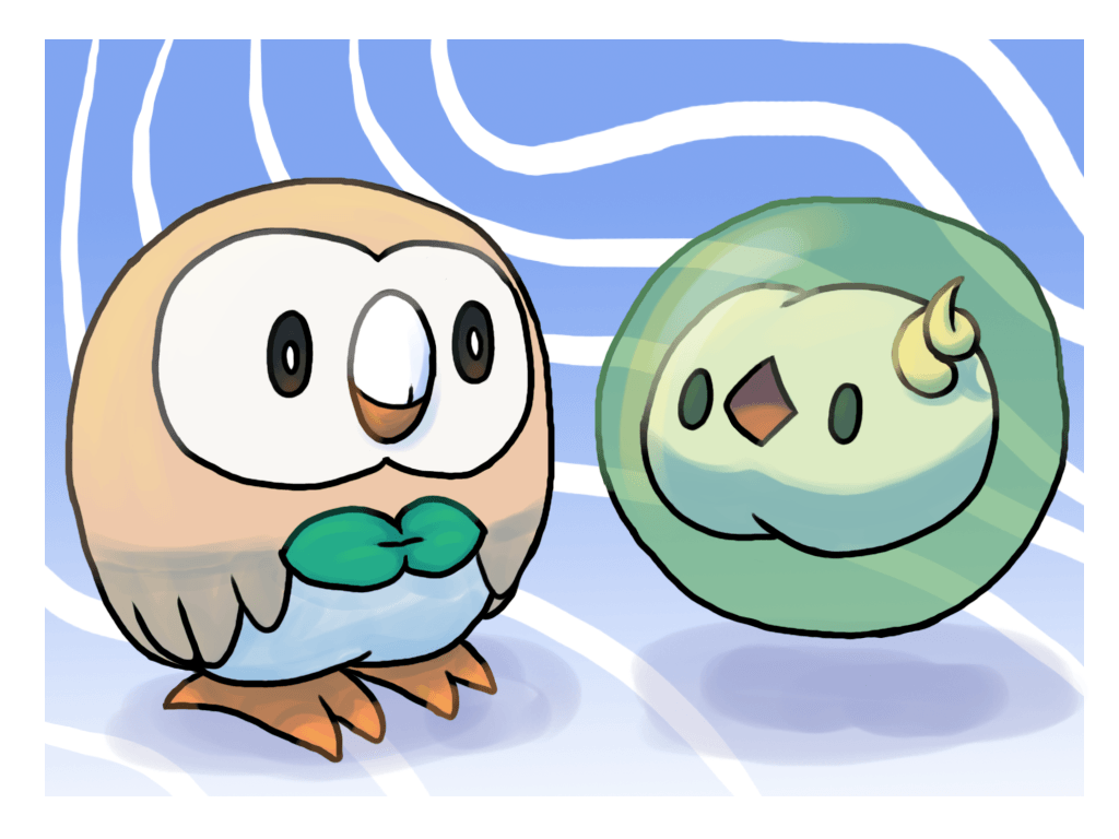 Rowlet and Solosis by Pozem on DeviantArt