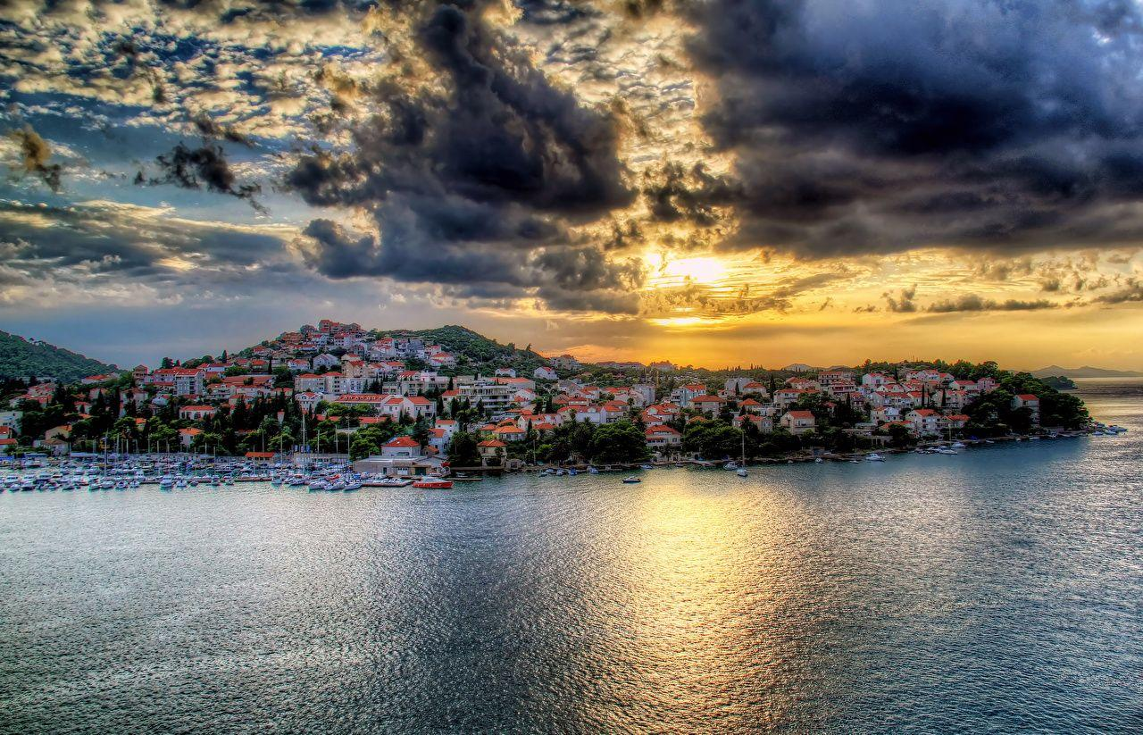 Wallpapers Croatia Dubrovnik HDR Sea Sky Coast Cities Clouds Houses