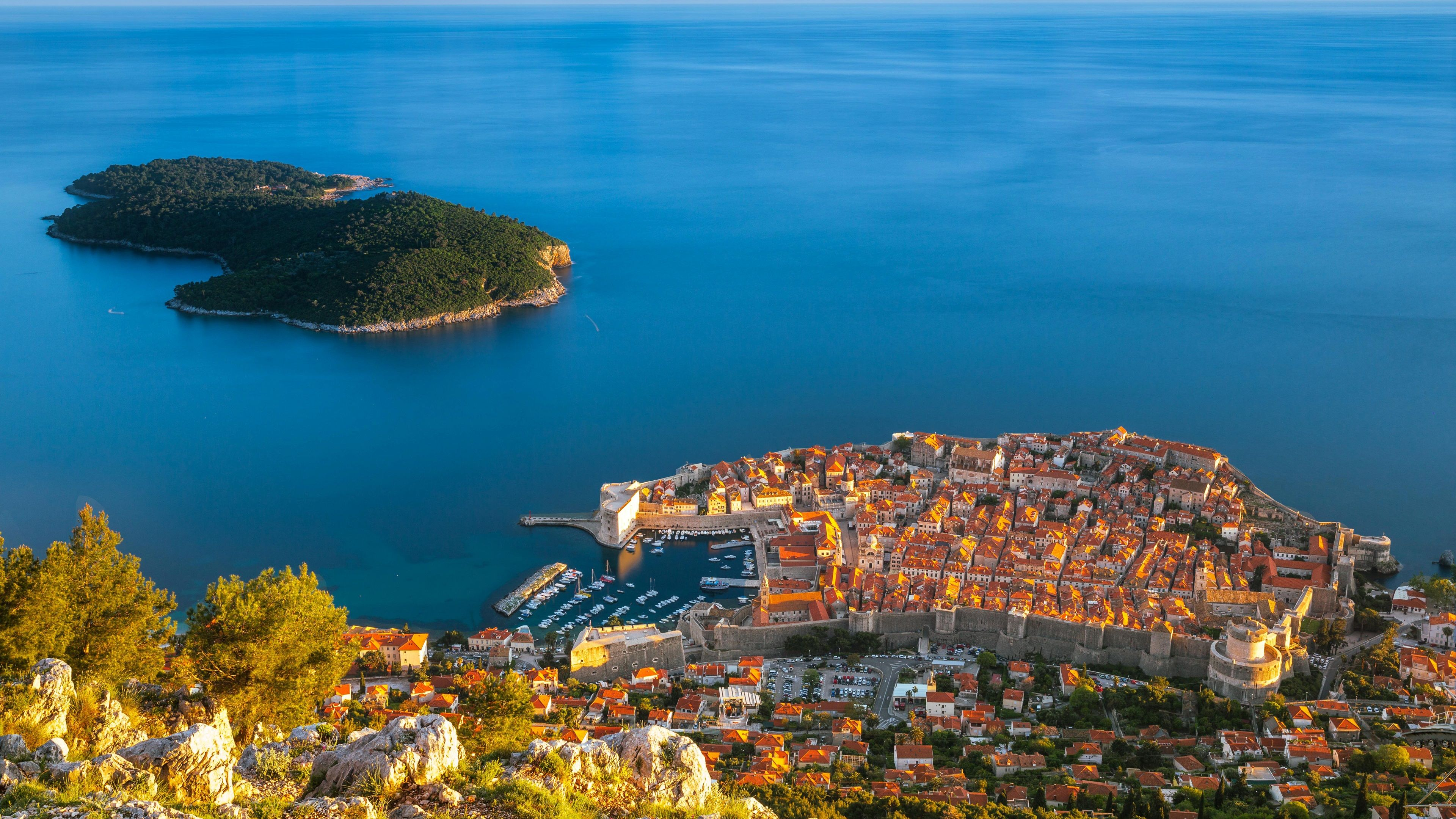 Wallpapers Croatia, Dubrovnik, sea, island, houses, buildings