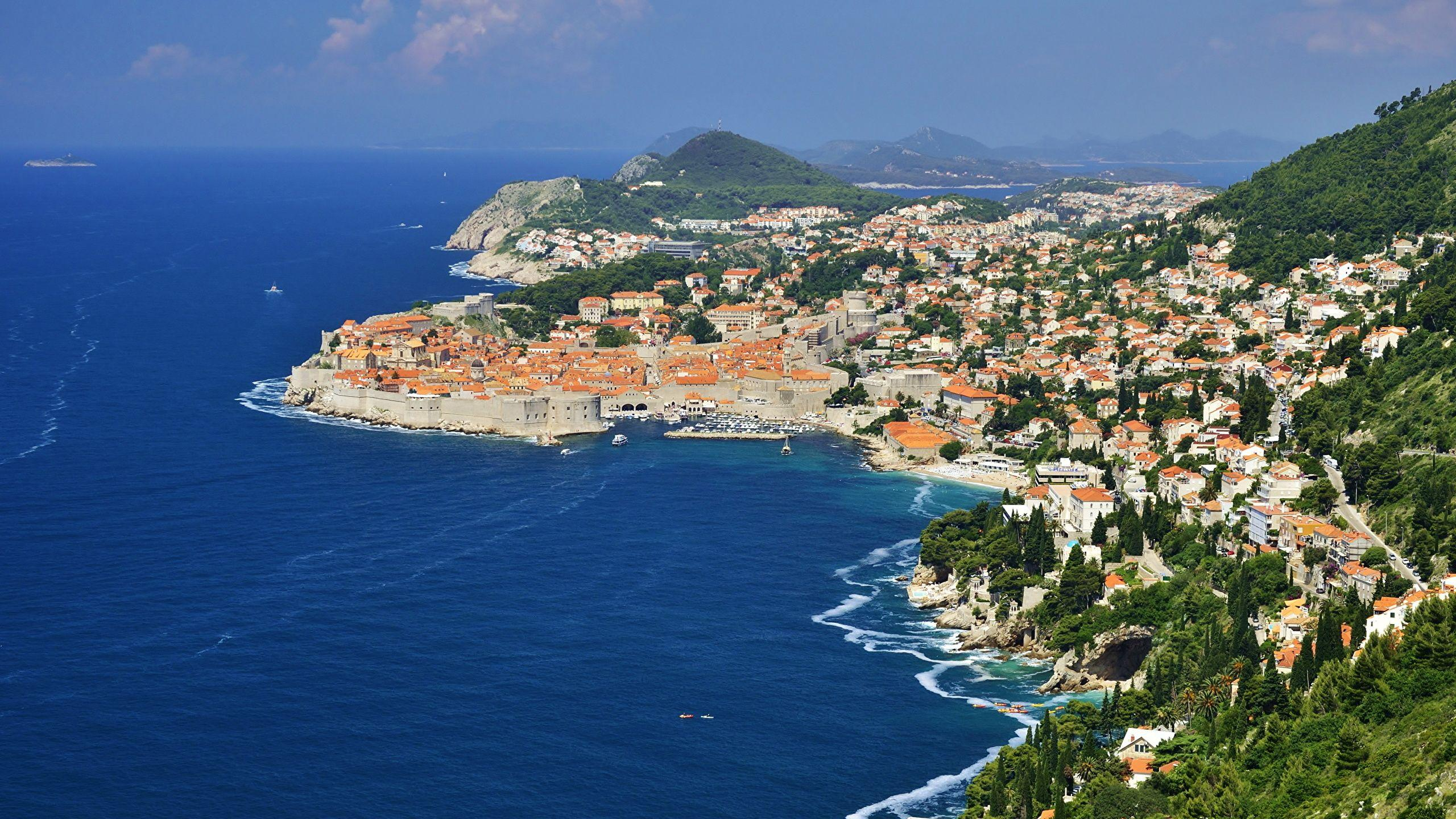 Wallpapers Croatia Dubrovnik Sea Cove Coast From above 2560x1440