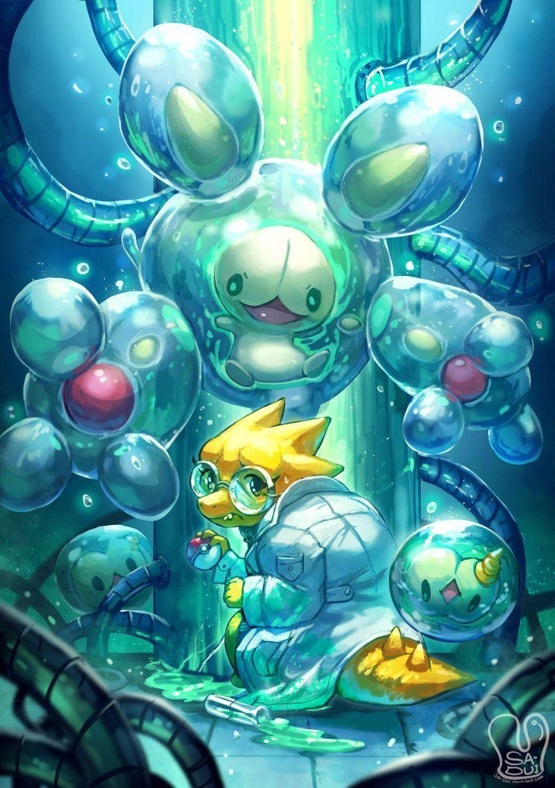 Pokemon x UNDERTALE : Alphys and Reuniclus by Sa