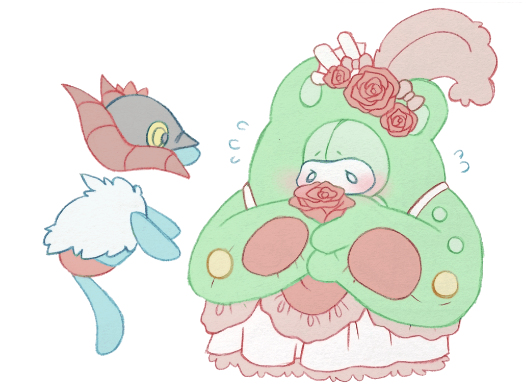 It seems like Reuniclus wants to give a flower to...