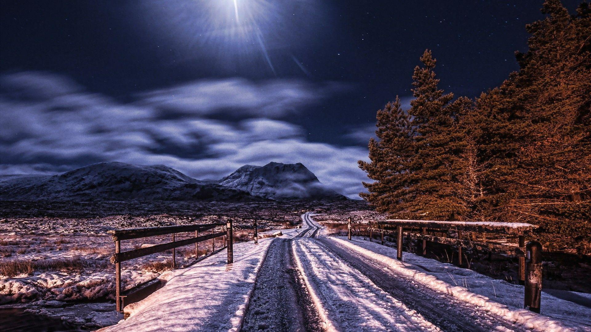 Night Winter Road Wallpaper