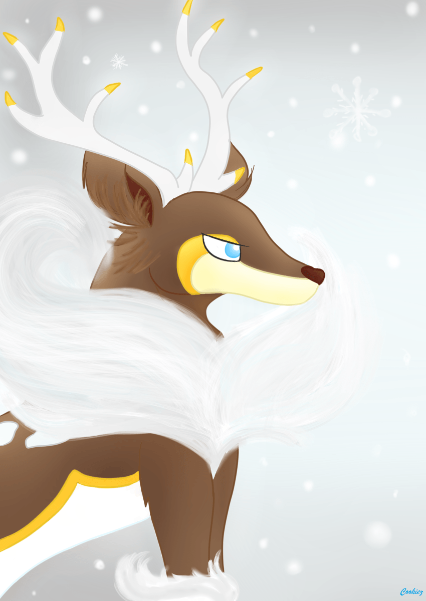 Winter Sawsbuck wallpaper! Feel free to use <3