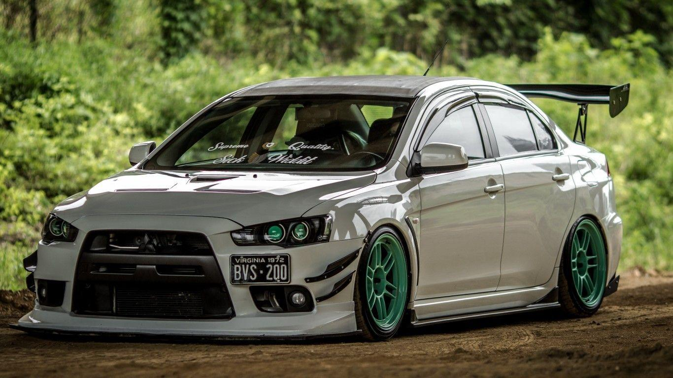 Download wallpapers mitsubishi, lancer, evolution, x, white, tuning