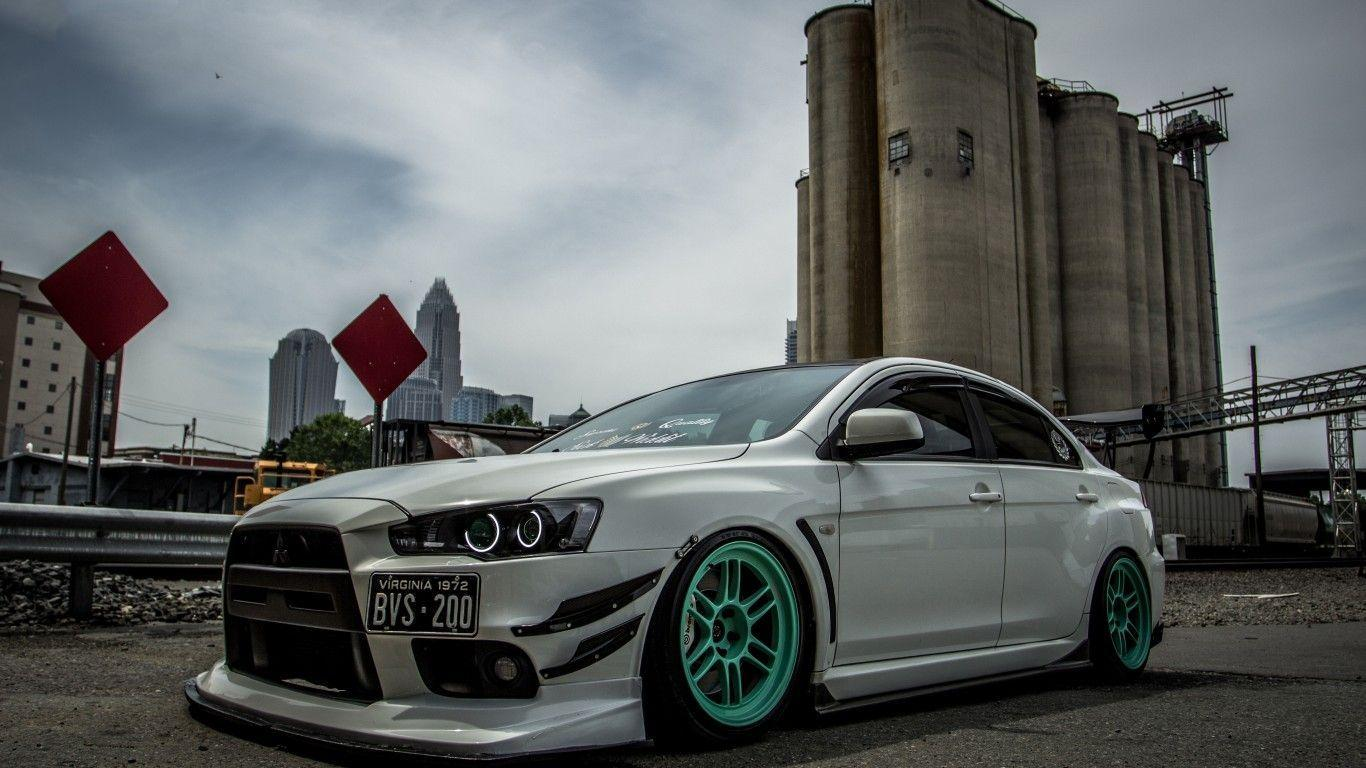 Download wallpapers mitsubishi, lancer, evo, x, white, tuning