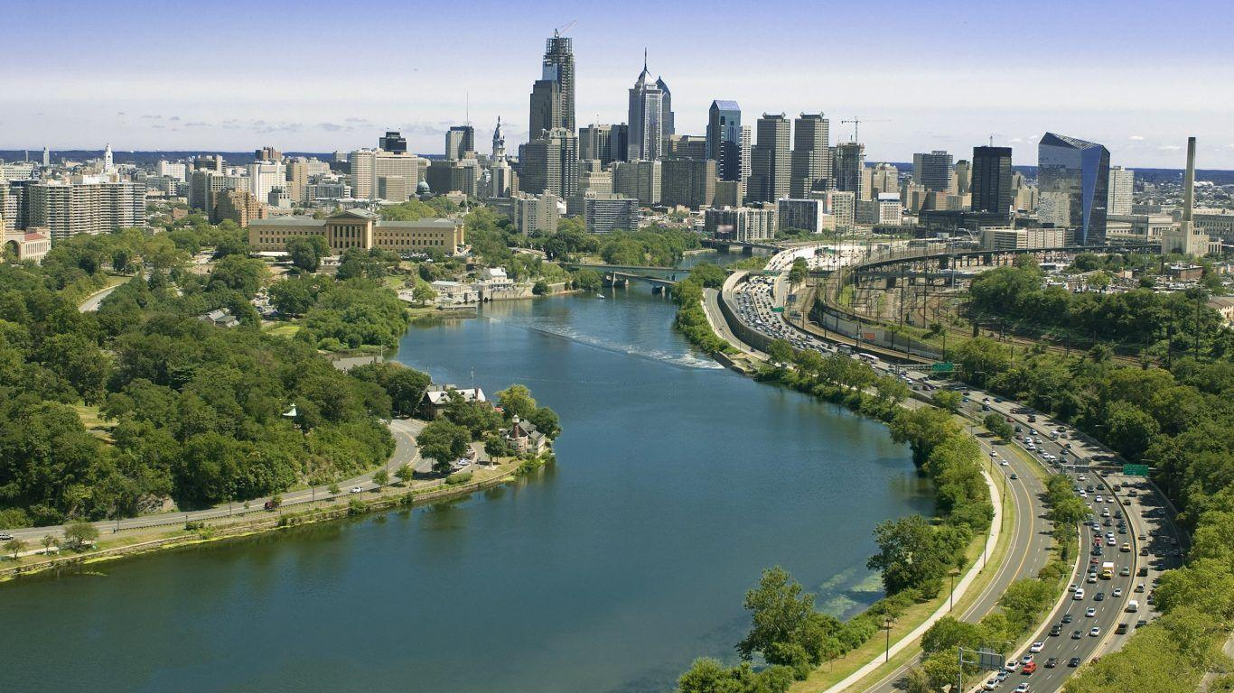 Rivers: Cityscapes Philadelphia Cities Nature Wallpapers Animated