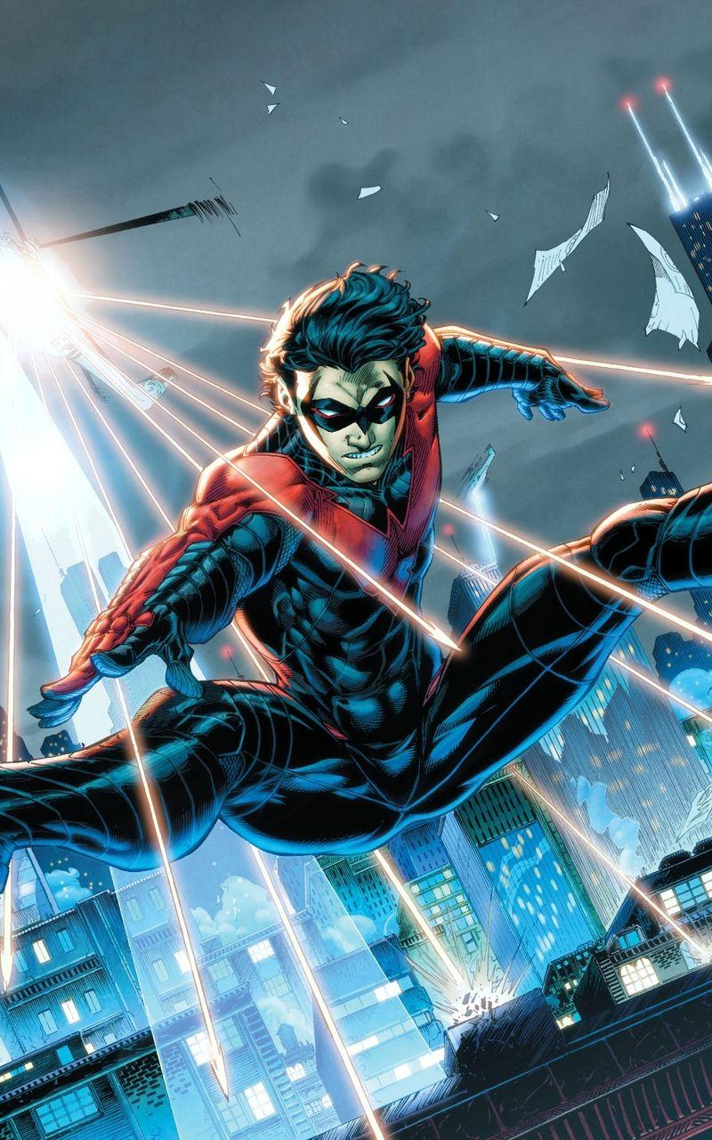 Download wallpapers 800x1280 nightwing, dc comics, robin, dick