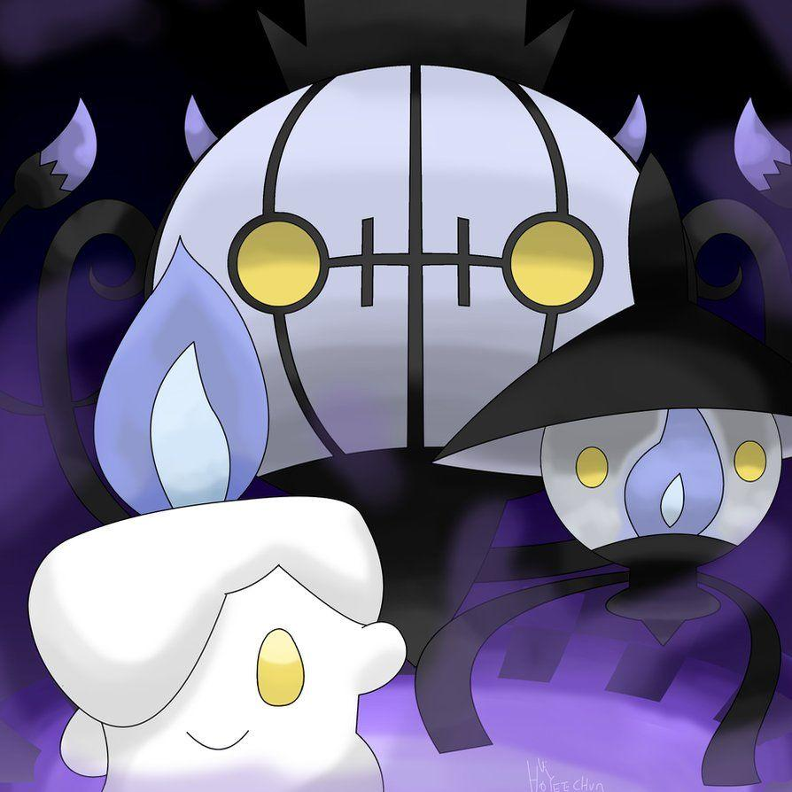 Litwick Lampent Chandelure_remake by hoyeechun on DeviantArt