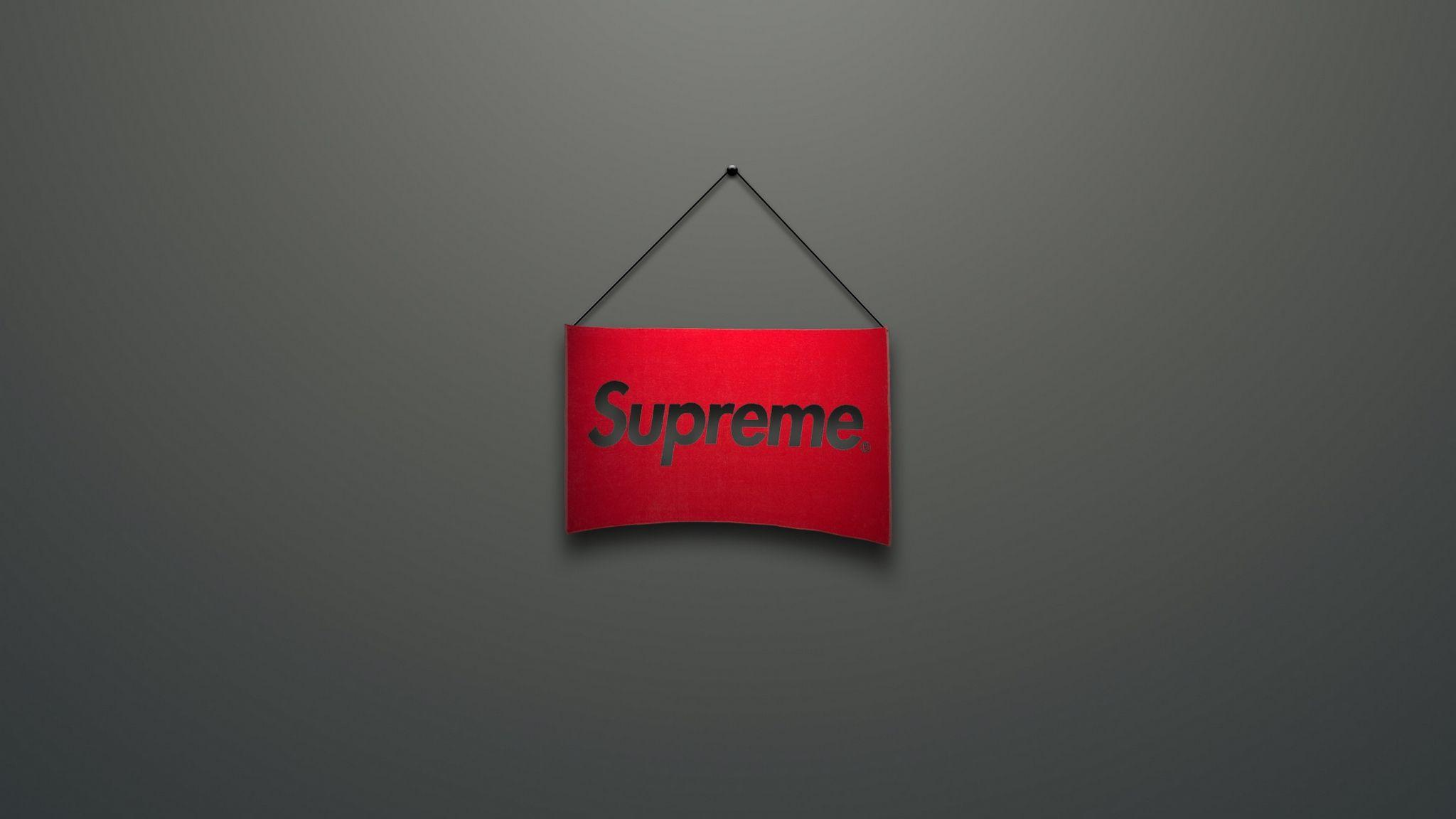 Download wallpapers 2048x1152 supreme, logo, red, minimalism