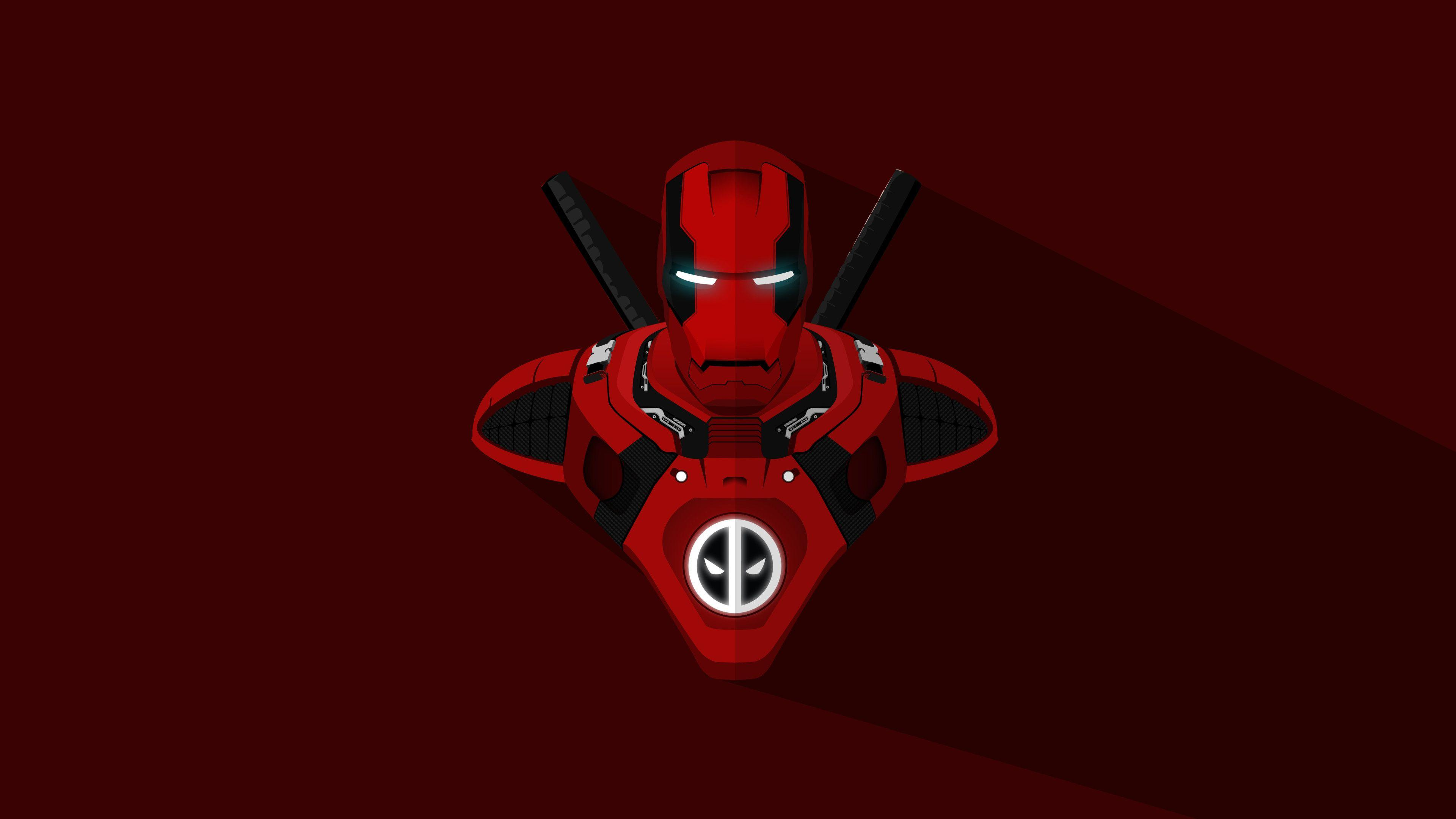 Download 3840x2400 wallpapers iron man, deadpool, crossover, marvel