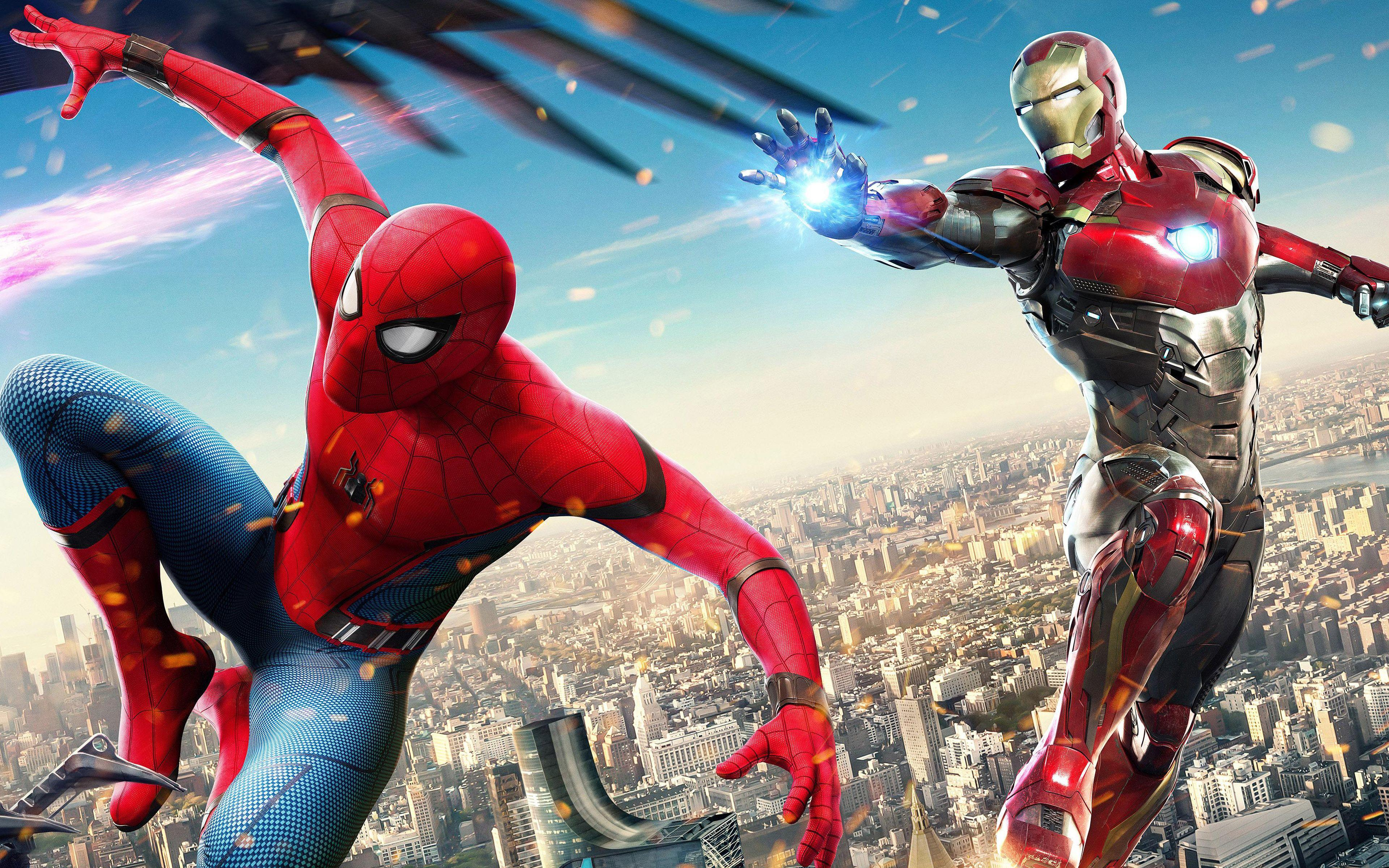 Iron Man Spiderman Homecoming 4K Wallpapers